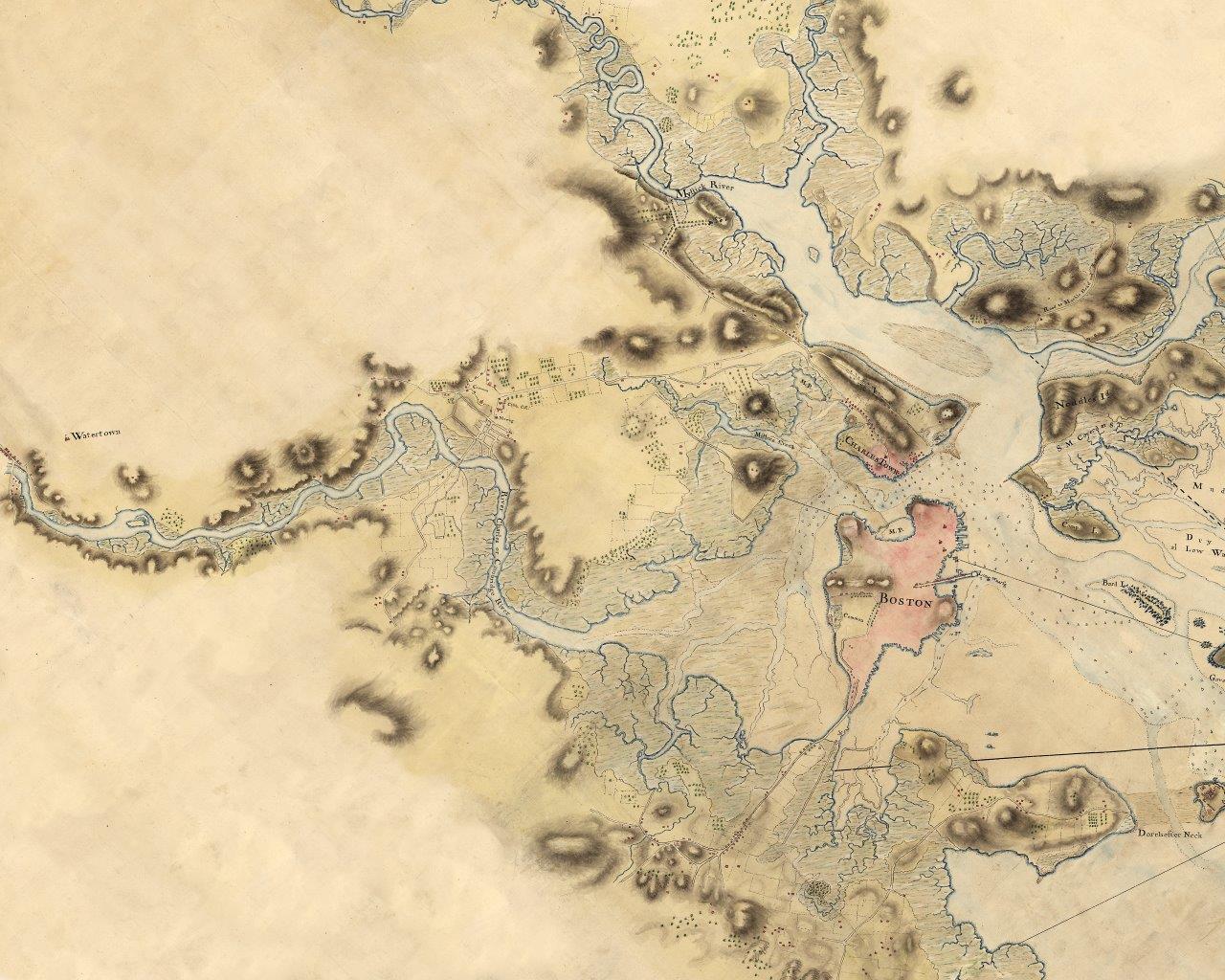 """Above Map: Lt. John Hills, """"Boston, with the surroundings, &c.,"""" early 1770s, detail. Courtesy of Library of Congress."""