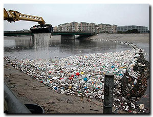 Non-recyclable packaging make up a large portion of marine and community pollution, forcing local governments to pay high clean-up costs such as those featured here in Ballona Creek.