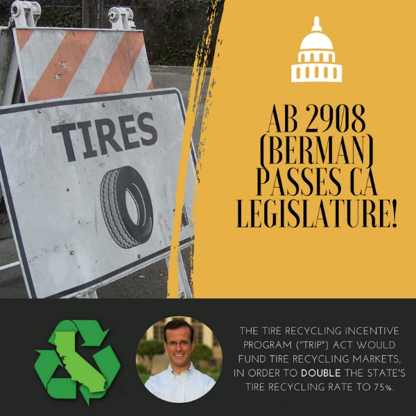 Tire Recycling Incentive Program (TRIP) Act heads to Governor Brown