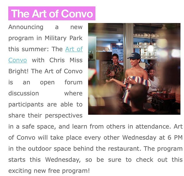Did you get your weekly update email from @militaryparknwk ?! If you did you saw that @artofconvo is premiering there this Wednesday as part of their FREE Summer Programming !!!!!!!! If you've come to one , you already know ! If you haven't but have been wanting to experience it ...please come through ! Can't wait to see and talk about the REAL! #artofconvo
