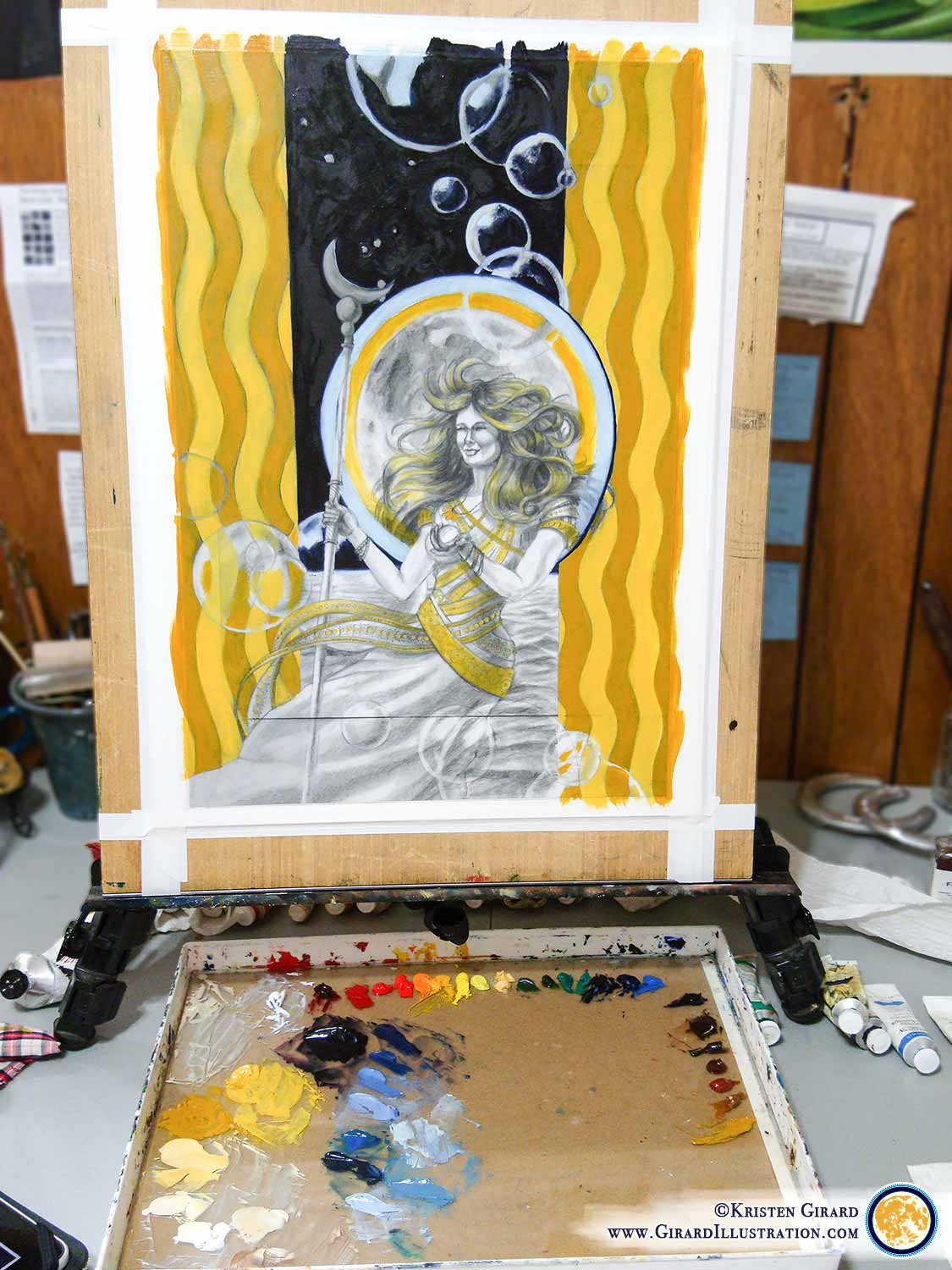 The painting stage begins! Laying down the first layer of color is a fun stage in the painting process because the color begins to bring an added element of life and vitality to the artwork. To see the finished painting  click here . © Kristen Girard