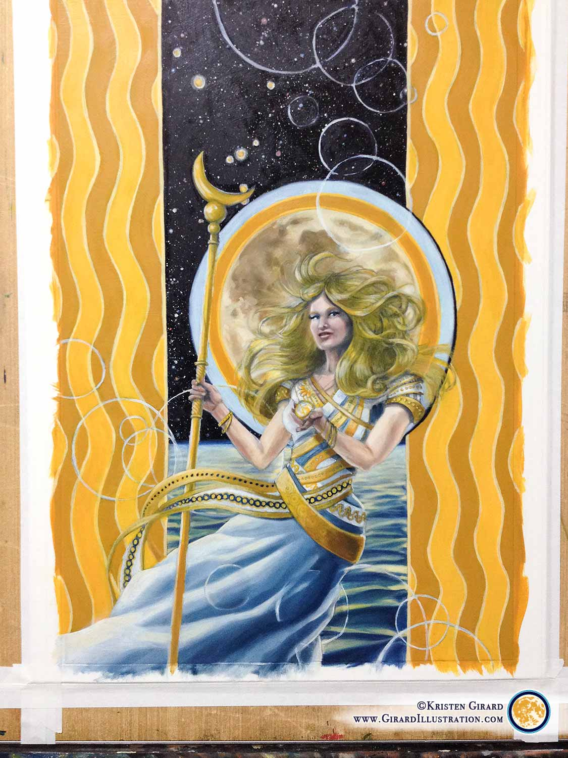 Almost done!   Just a few finishing touches to go and this goddess will be ready to shine! See the finished painting of Air Magic in the  Goddesses and Gods of Creation Collection  by Kristen Girard by  clicking here .  © Kristen Girard.