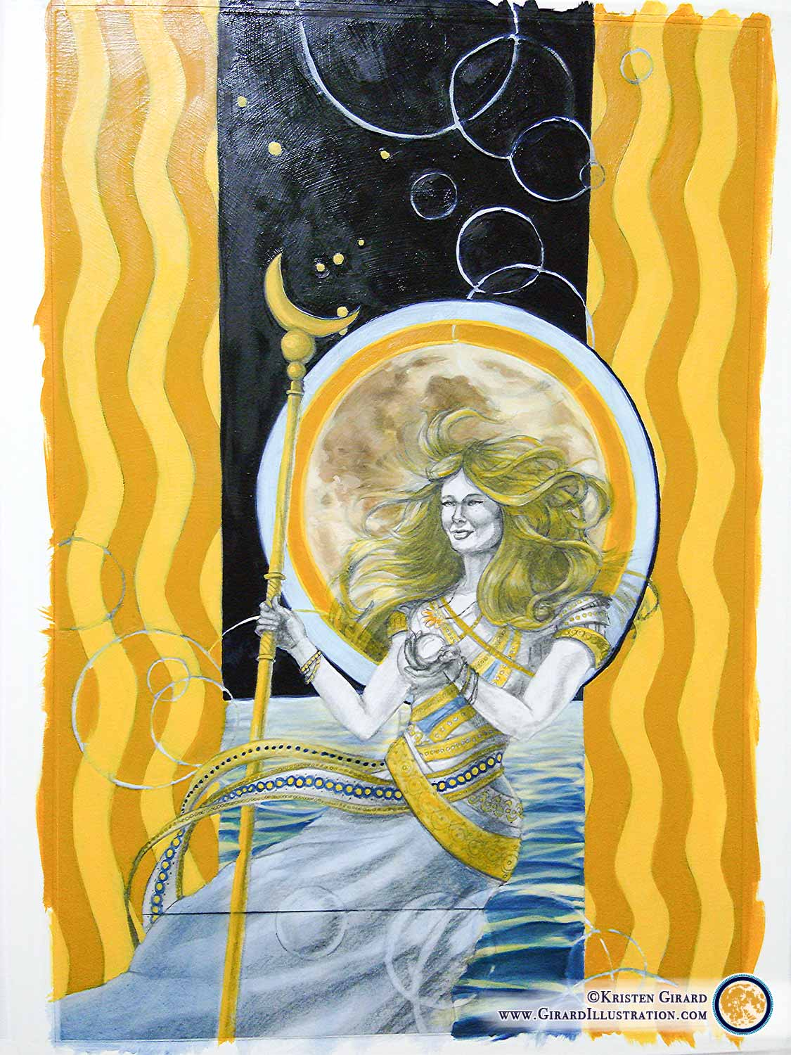 Dreams are important, they are where hope is born. The Goddess of Air depicted here is a goddess whose main power lies in bringing dreams of inspiration and guidance into the world.To see the finished painting of Air Magic in the Goddesses and Gods of Creation Collection  click here.   © Kristen Girard