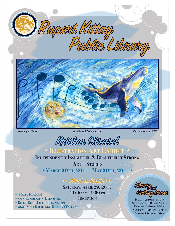 Show announcement poster designed by artist Kristen Girard on behalf of the Rupert Kittay Public Library. © Kristen Girard 2017