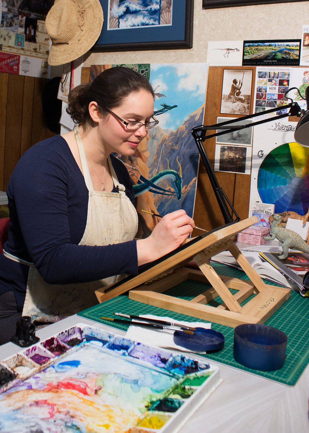 Kristen Girard watercolor painting in her art studio.  Would you like to know more about how the art comes to life?  Click here  to raise your hand for the adventure of creating dreams.  Photo © Kristen Girard 2015 .