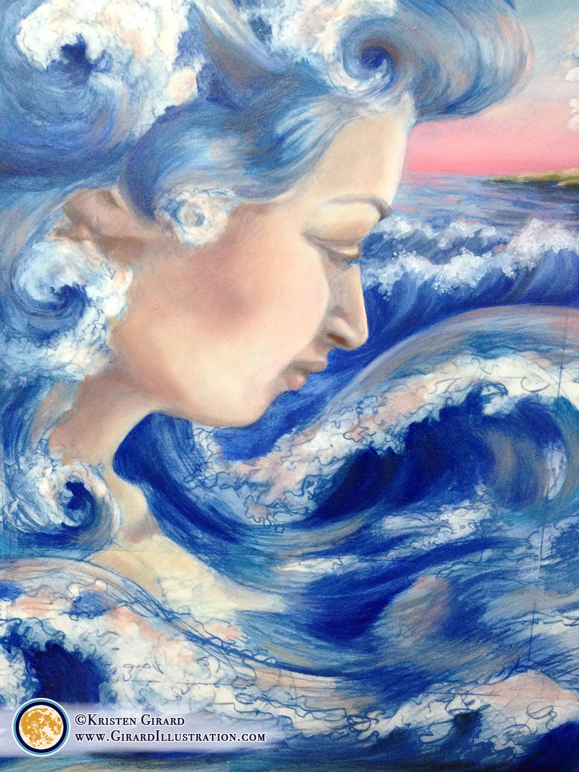 A water goddess born from the creative power of the ocean comes to life.  The sun is just rising as the promise of life is fulfilled. The ocean froths and foams with joy as the new goddess awakens.  Detail of the illustration artwork  Water Magic by © Kristen Girard  in progress.  Click here to see the finished painting.