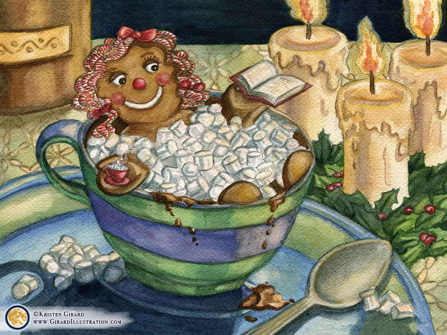 A gingerbread cookie girl decided it was time to take a night off.  This funny painting is of a gingerbread girl taking a bubble bath in a blue and green cup of hot chocolate with marshmallows while she reads a book and enjoys a hot beverage. Candles nearby make for cozy light nearby. Bubble Bath by © Kristen Girard of Girard Illustration.