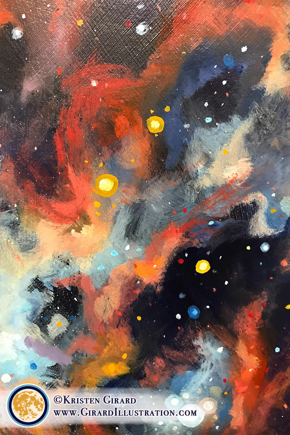 Colorful celestial artwork that helps you remember to not just speak your truth, but more importantly to LIVE it. The swirls of stars and bright gas nebulas within celestial paintings by visionary artist Kristen Girard help you express your truth. © Kristen Girard.