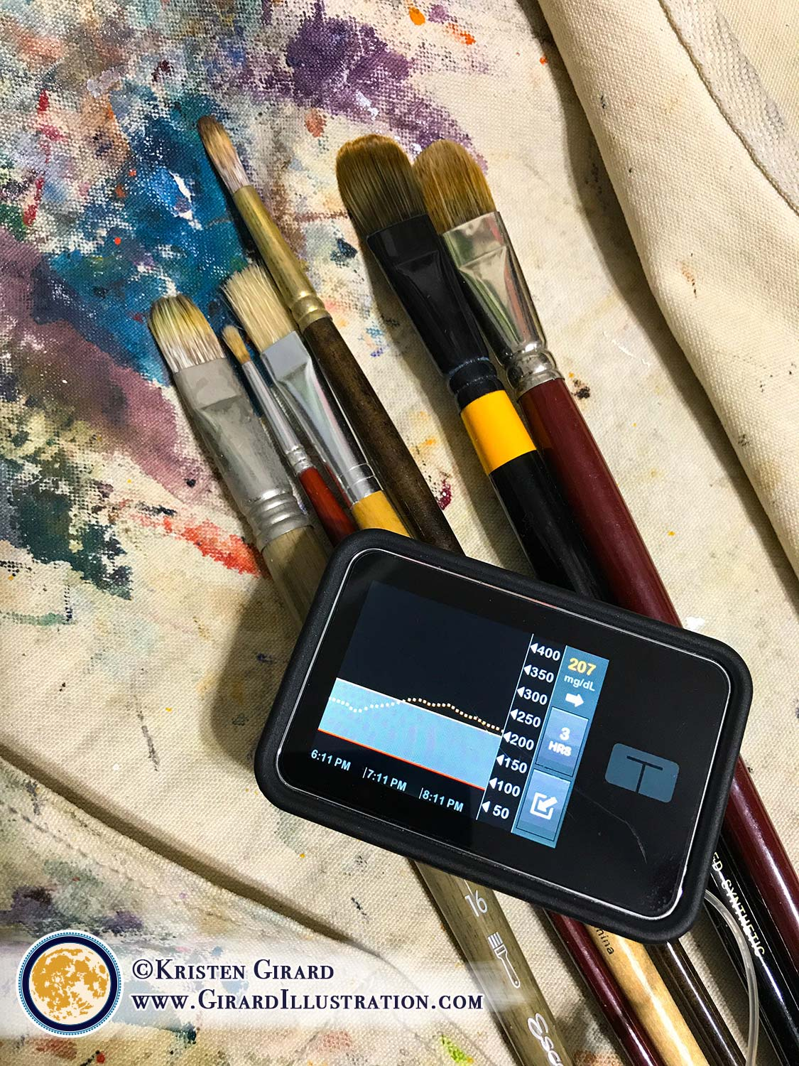 20 things on the mind of a person living with diabetes - on a good day. Living with type one diabetes is an art form all on it's own, even with my much loved Tandem insulin pump. © Kristen Girard