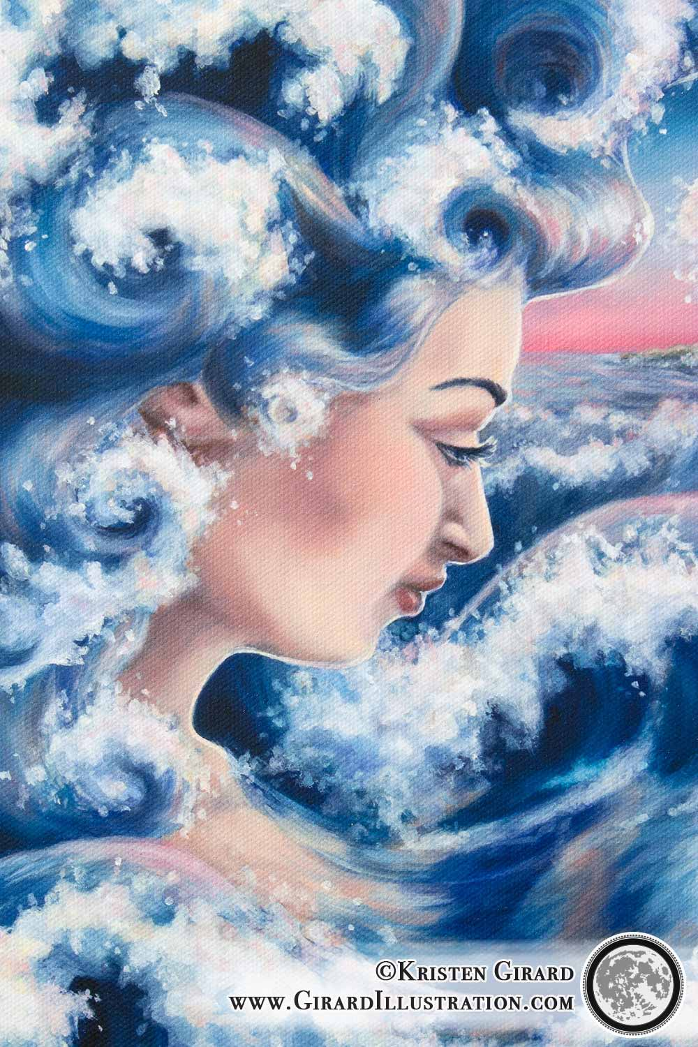 Dawn rises as a goddess is rising up out of the ocean. Her skin is rosy with the dawn and her hair is formed of blue curling waves that reflect the fresh pink of the sky. Water Magic © Kristen Girard. Detail.