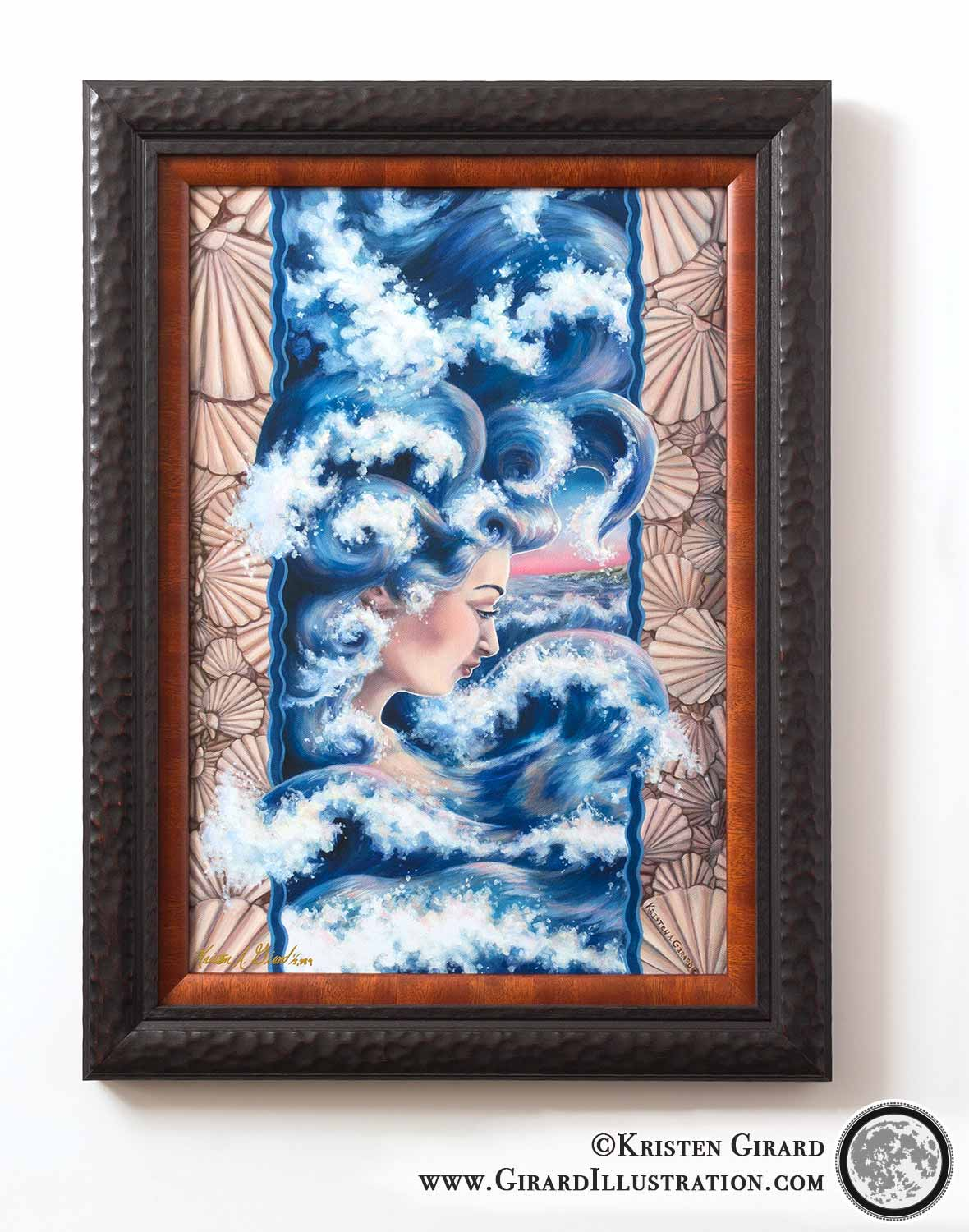 Seashells frame ocean waves that become a goddess of the deep blue waters in this unusually beautiful artwork by artist Kristen Girard. ©