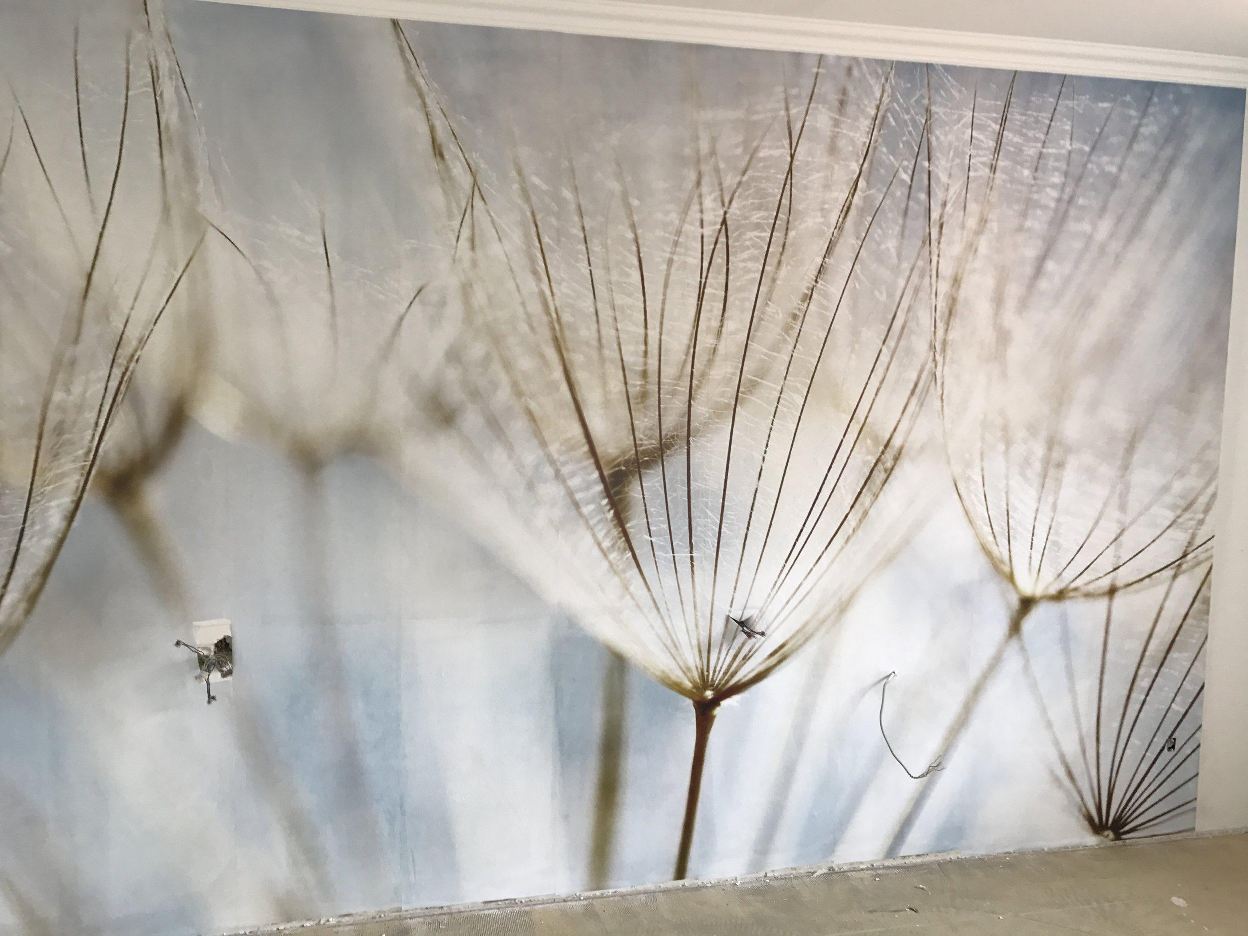Eine Wand mit Fototapete