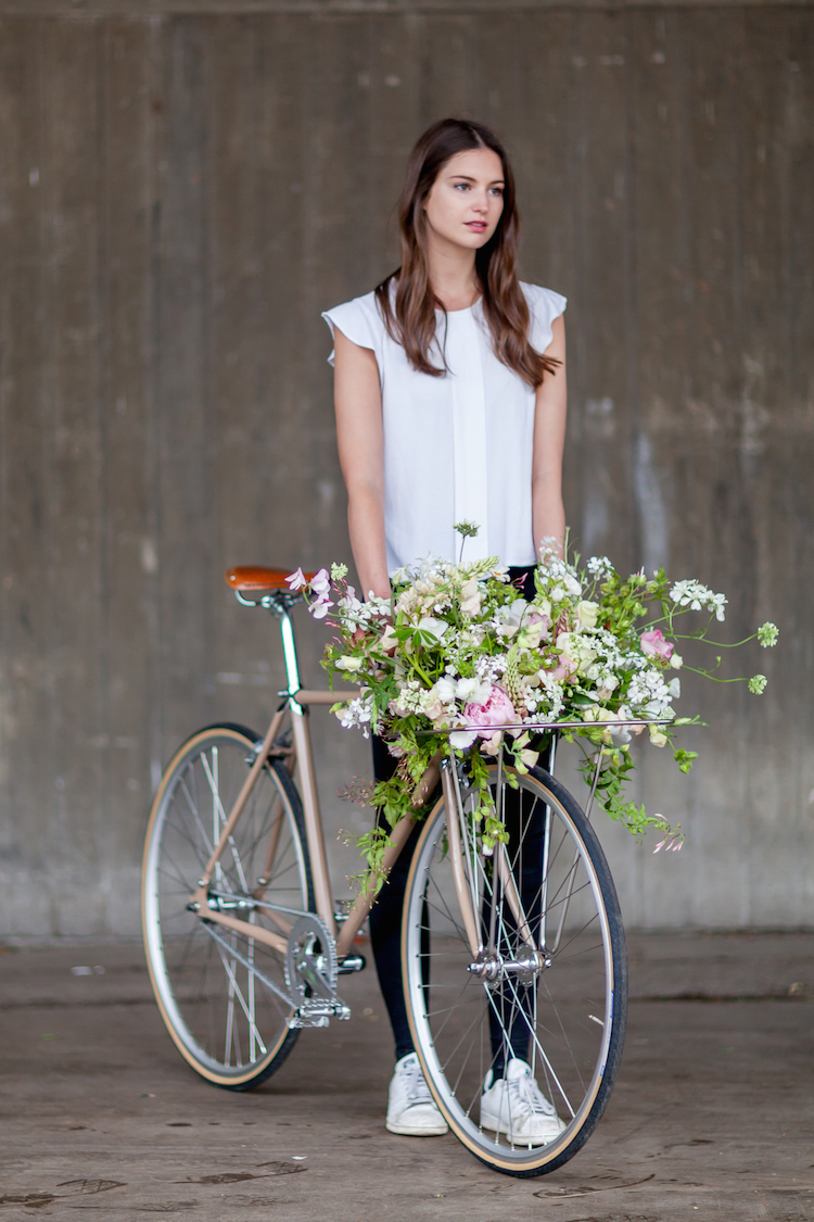 Day 2 of British Flowers Week 2016, featuring a bike with a gorgeous floral design created by Florence Kennedy of Petalon, presented to you by New Covent Garden Flower Market
