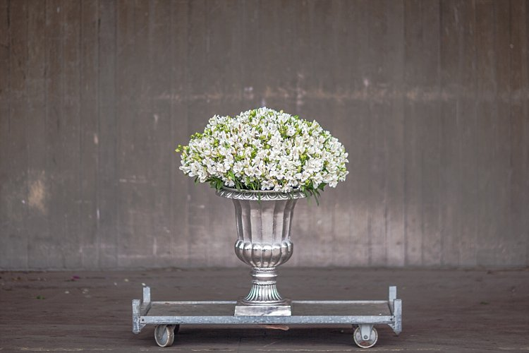 Day 5 of British Flowers Week 2016, featuring an urn bursting with white alstroemeria designed by Rob Van Helen of Rob Van Helden Floral Design, presented to you by New Covent Garden Flower Market
