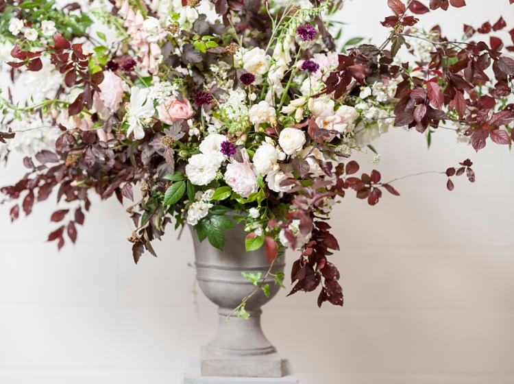 Jennifer Pinder urn design for British Flowers Week 2017 by New Covent Garden Flower Market