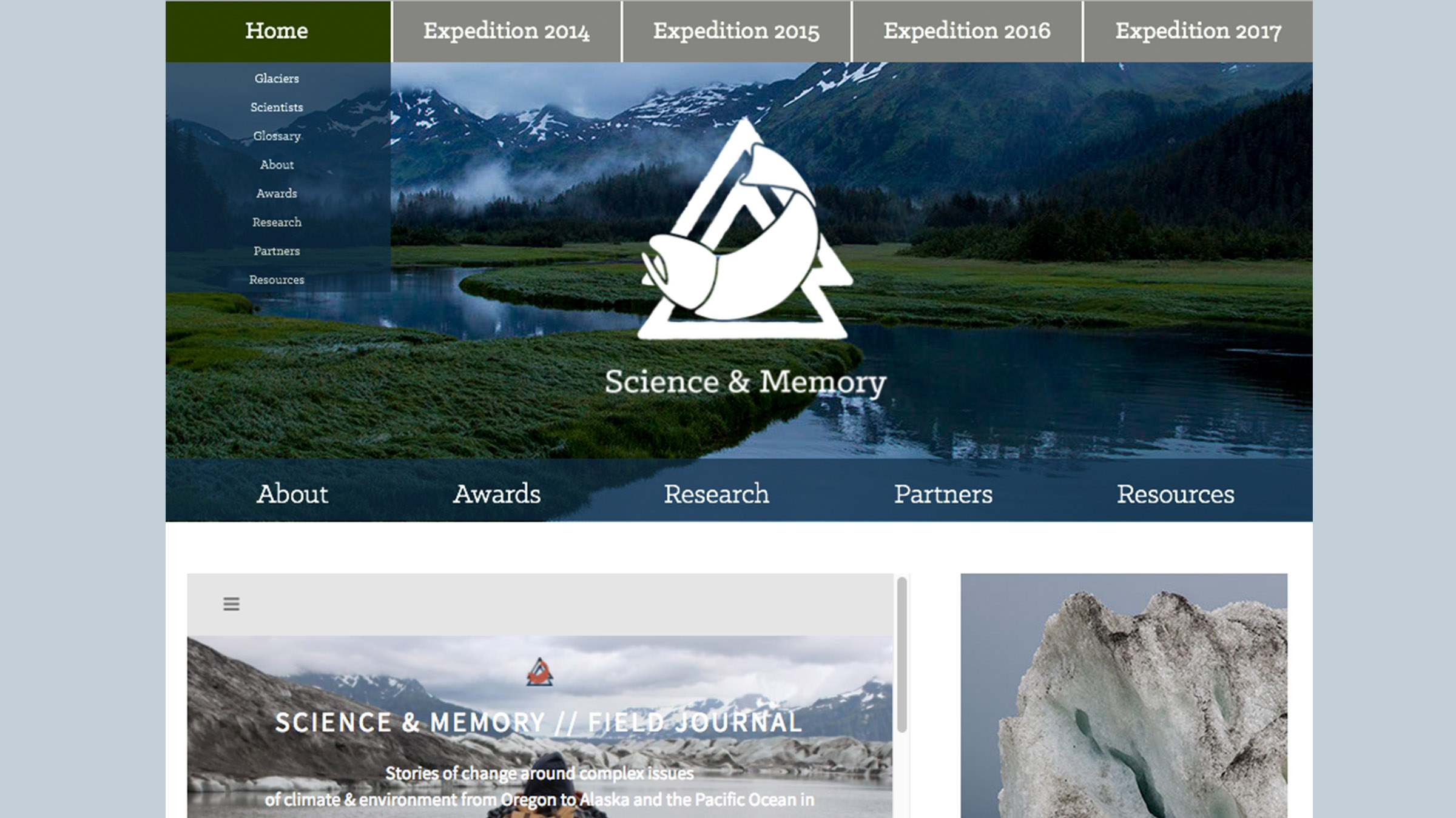 """The Home Page of Science & Memory. Website redesign by me 2016. The structure remains, but the site has since been updated to incorporate the massive expansion of the project's scope since my time there.I designed the navigation to meet the needs of our two main audiences: people interested in the work, and people interested in supporting the project. The top navigation header organizes all of the main works produced per year in """"Expeditions"""" and the under header functions as a collection of information about the project as a whole."""