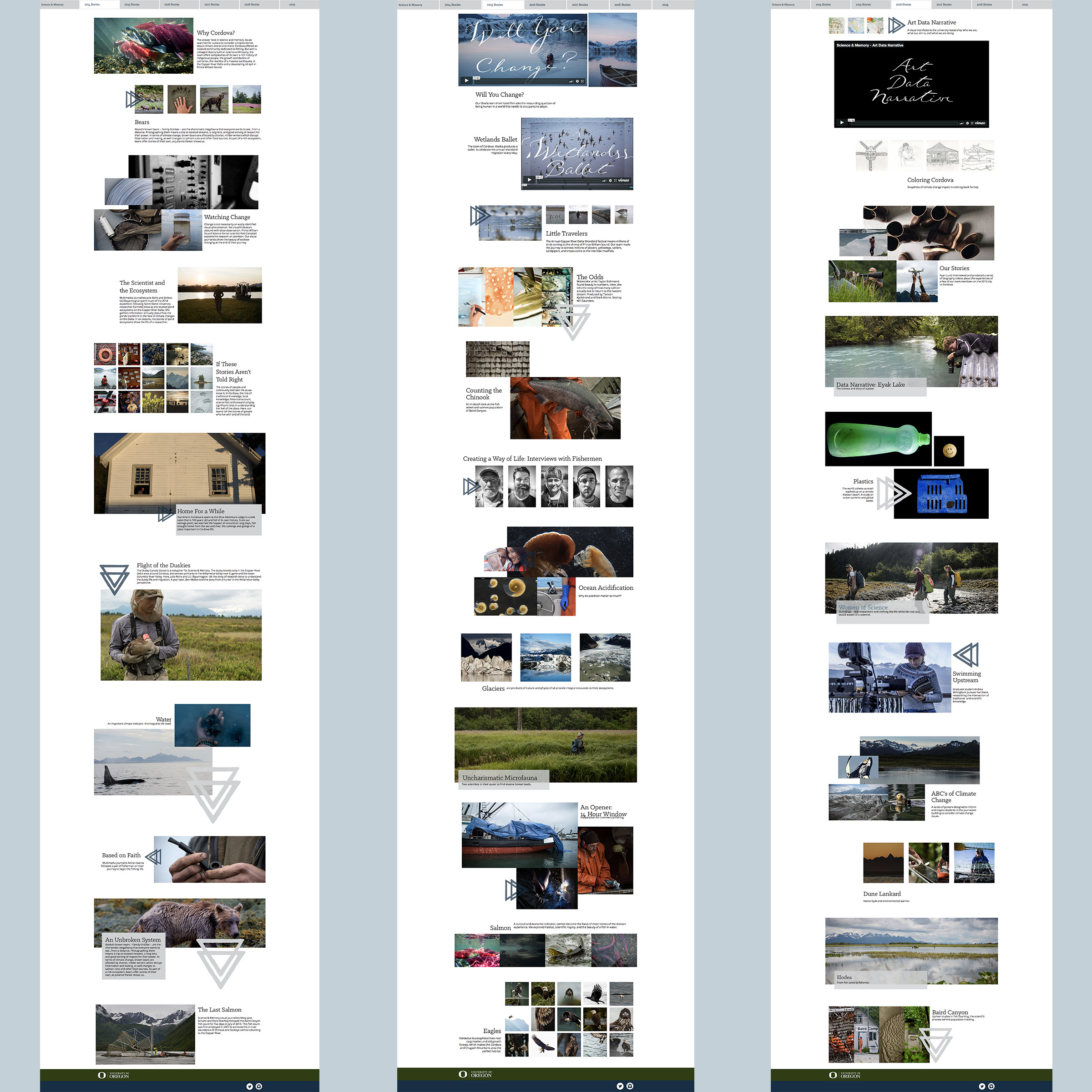"""Overview of the """"Expedition"""" Pages I designed for 2014, 2015, and 2016. Each section heading links to a story page, which I also designed. 56 web pages total."""