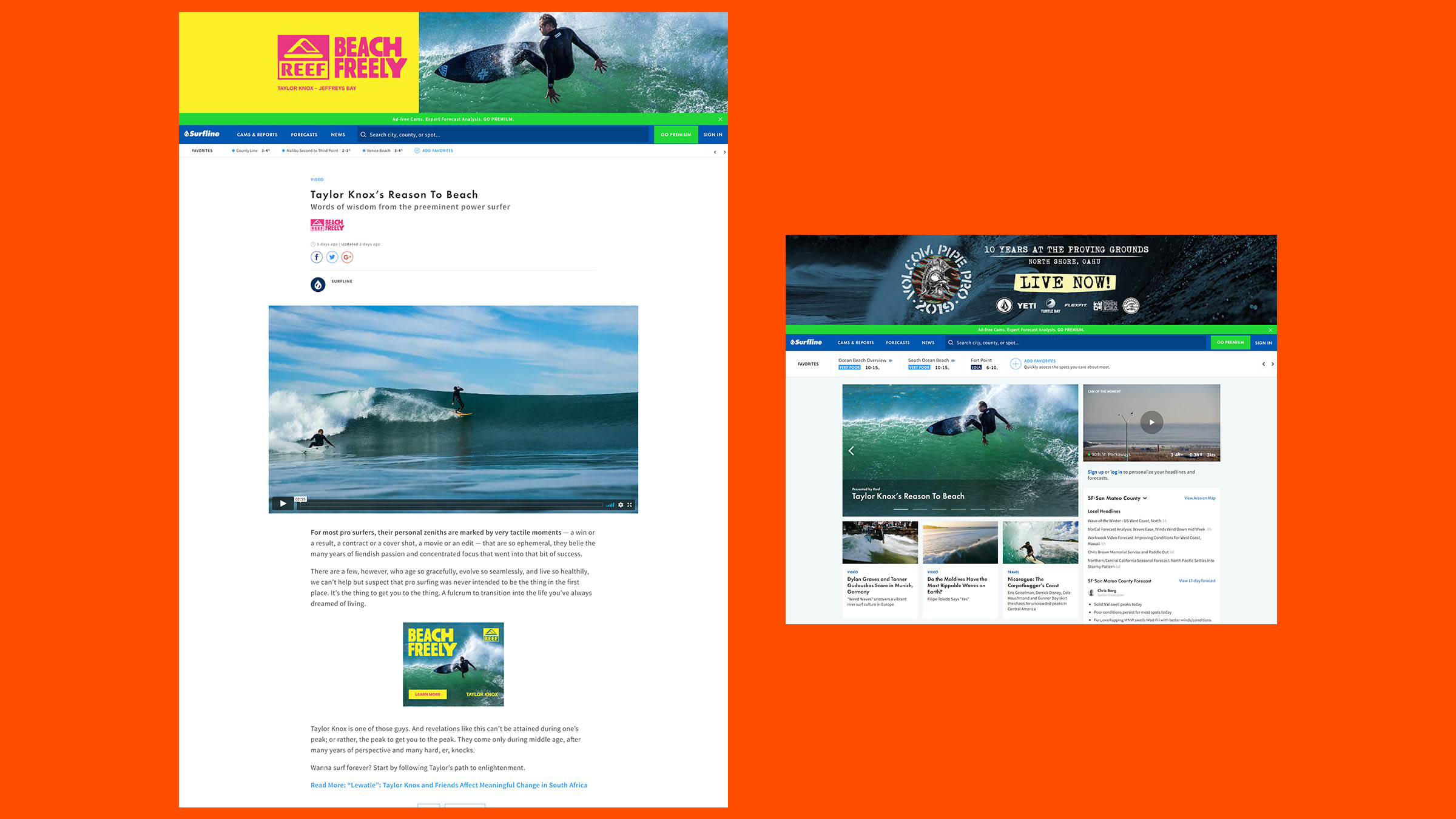Reef partnered with Surfline to promote Taylor's Reason To Beach. The video headlined the homepage and an article accompanied the full edit.