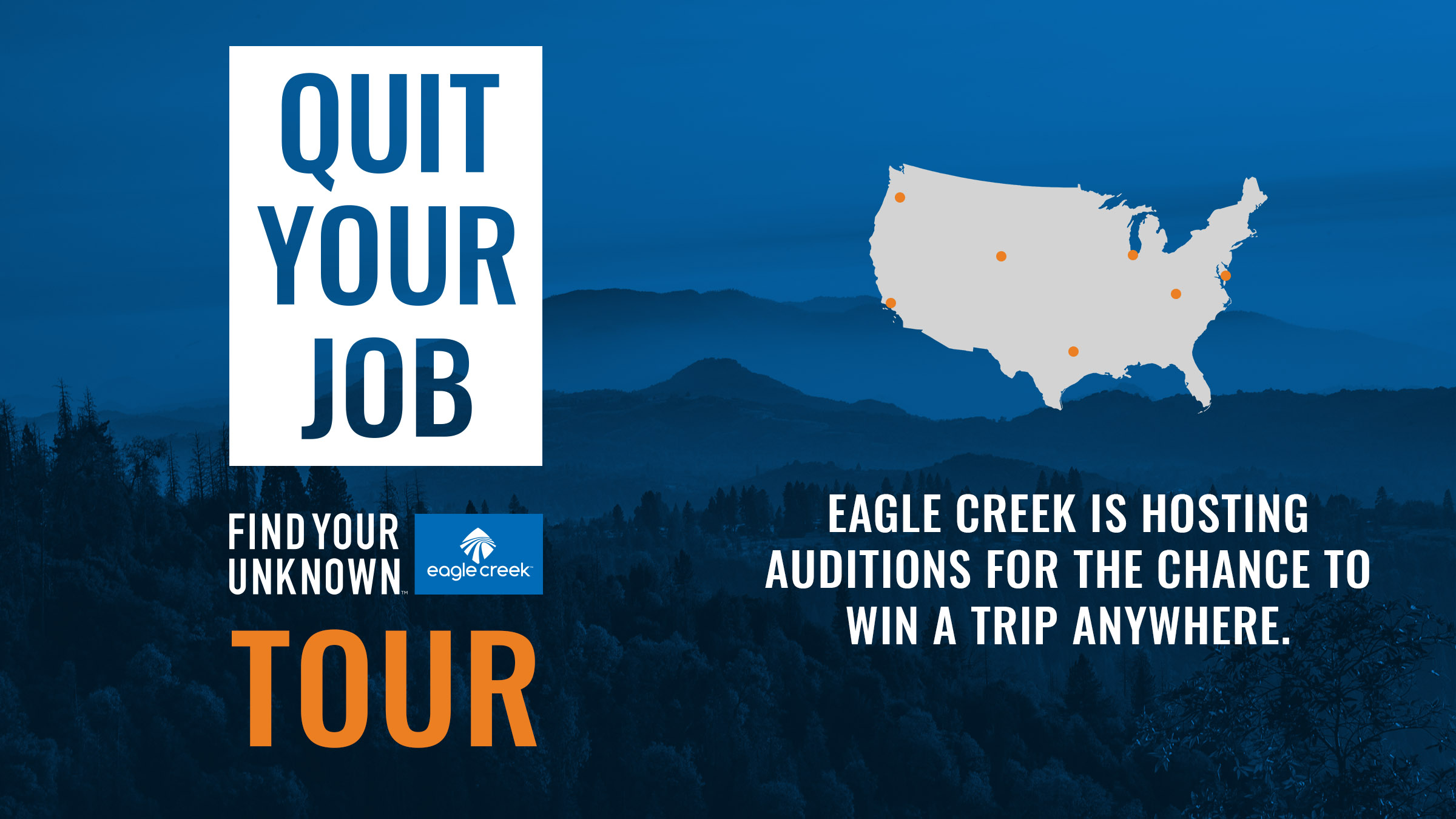 I helped concept an organize a nationwide contest to get people to take their vacation time (maybe even quit) in order to get out and travel. The kick-off activation at Outdoor Retailer in Denver drew in three times the expected number of interviewees. Retail partners across the country are excited for the roll out to continue through 2019.