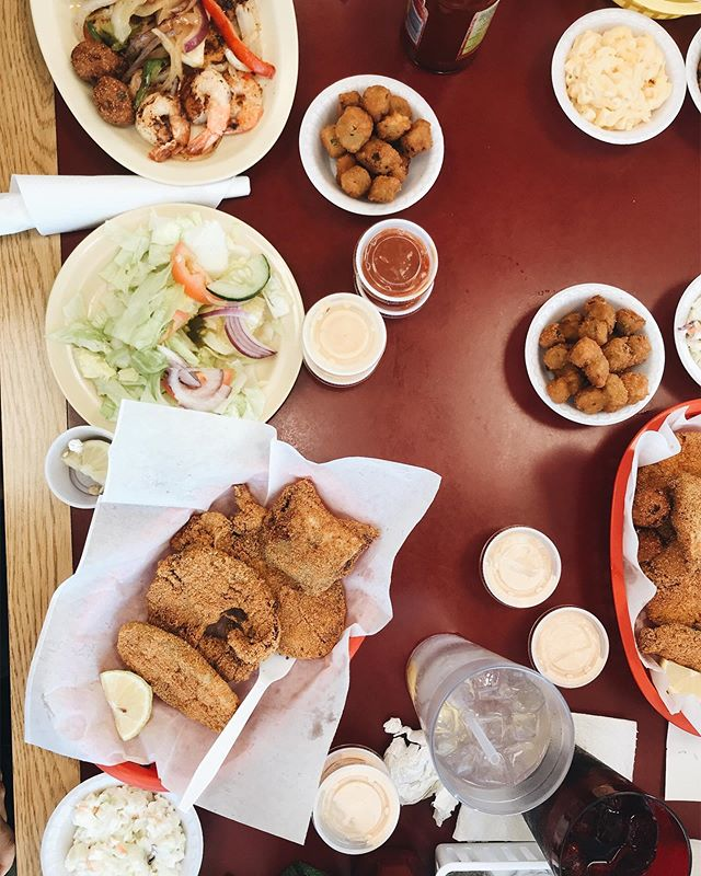 The only thing that didn't get eaten here was the salad... and believe me I didn't order that. Catfish and fried okra, Mac&cheese and too many good laughs.