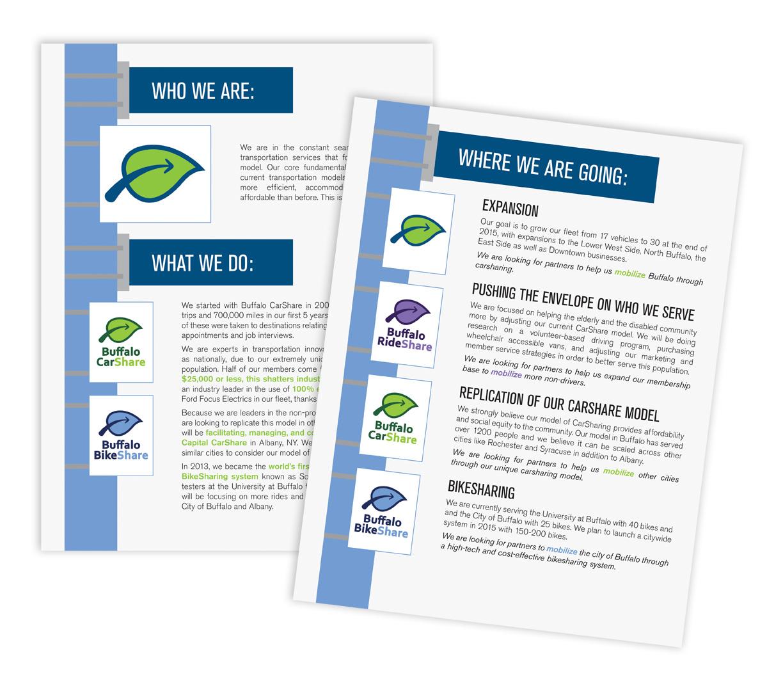 Sales sheet design for  Buffalo CarShare