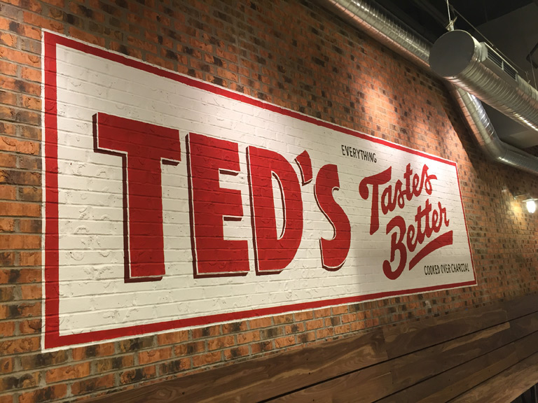 Mural and signage for the WNY classic ted's jumbo red hots. design by  white bicycle