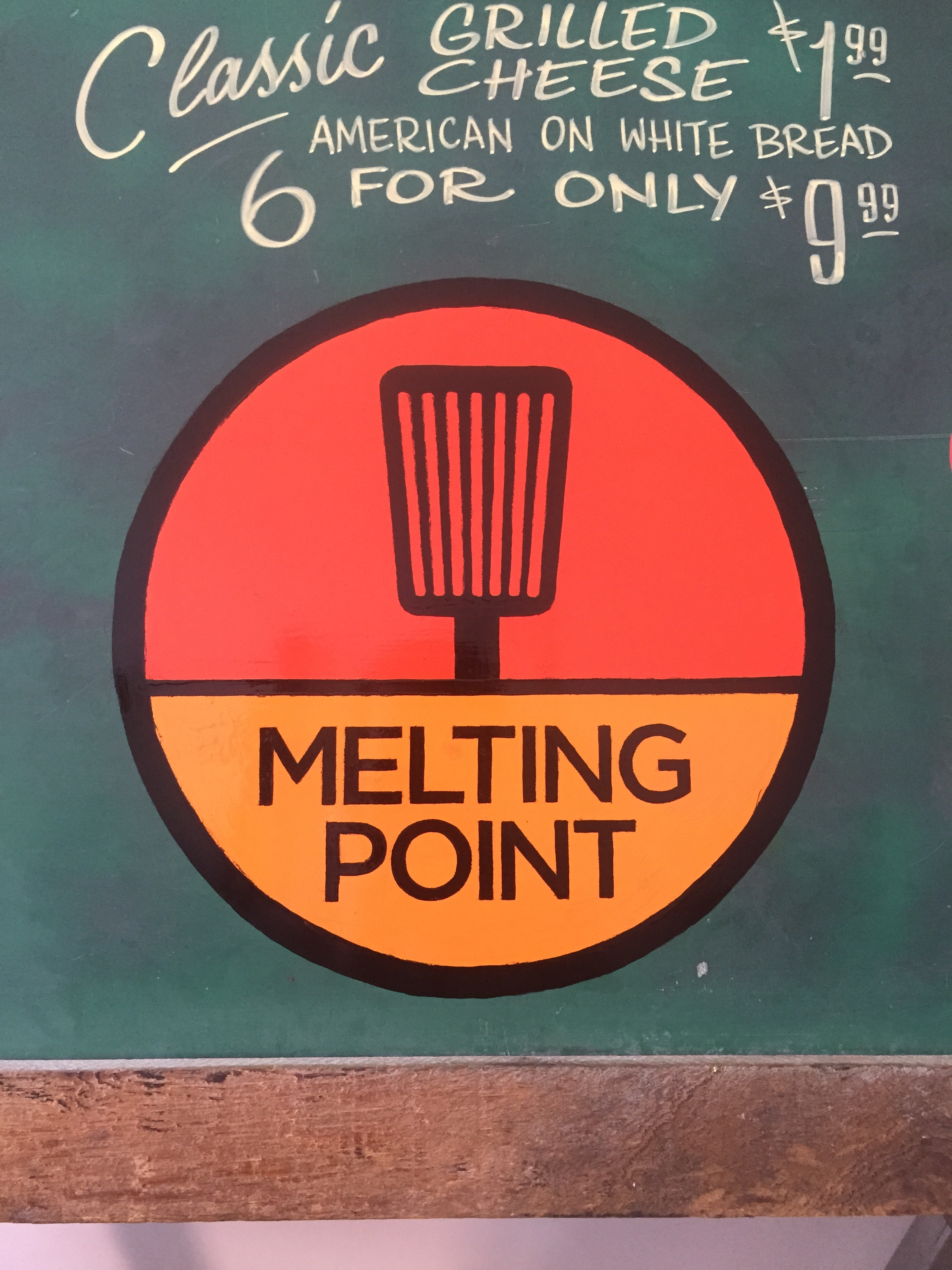 menu board for the grilled cheese joint, Melting point. logo design by  Julian Montague