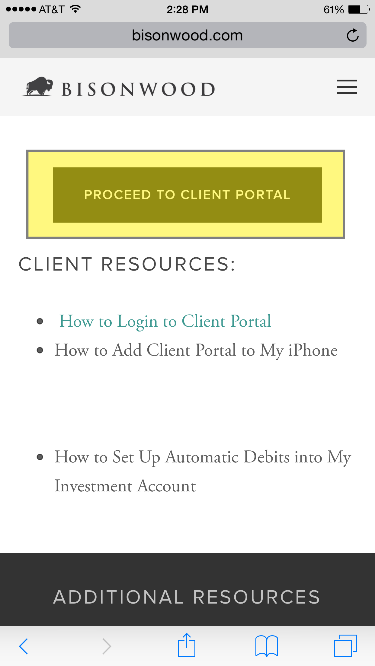 Click the Proceed to Client Login button to go to the secure login page, which is hosted by a third-party.