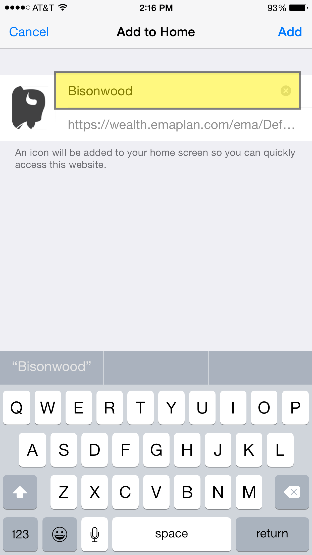 Rename the app to 'Bisonwood,' which'll help you find it in the future.