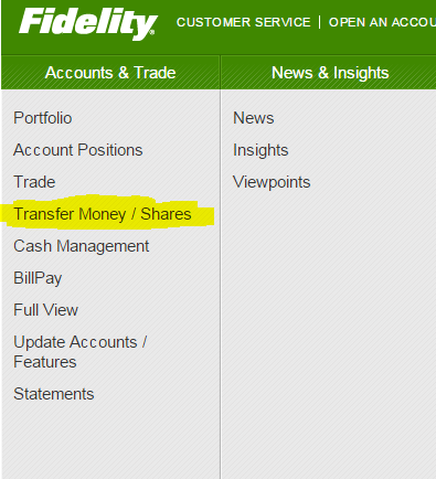 Select Transfer Money / Shares from the drop-down menu under Accounts & Trade