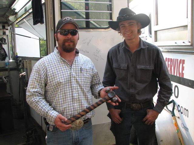 2012 Blacksmithing Clinc, Daniel Riffe's handmade hammer given to Link Casey.JPG