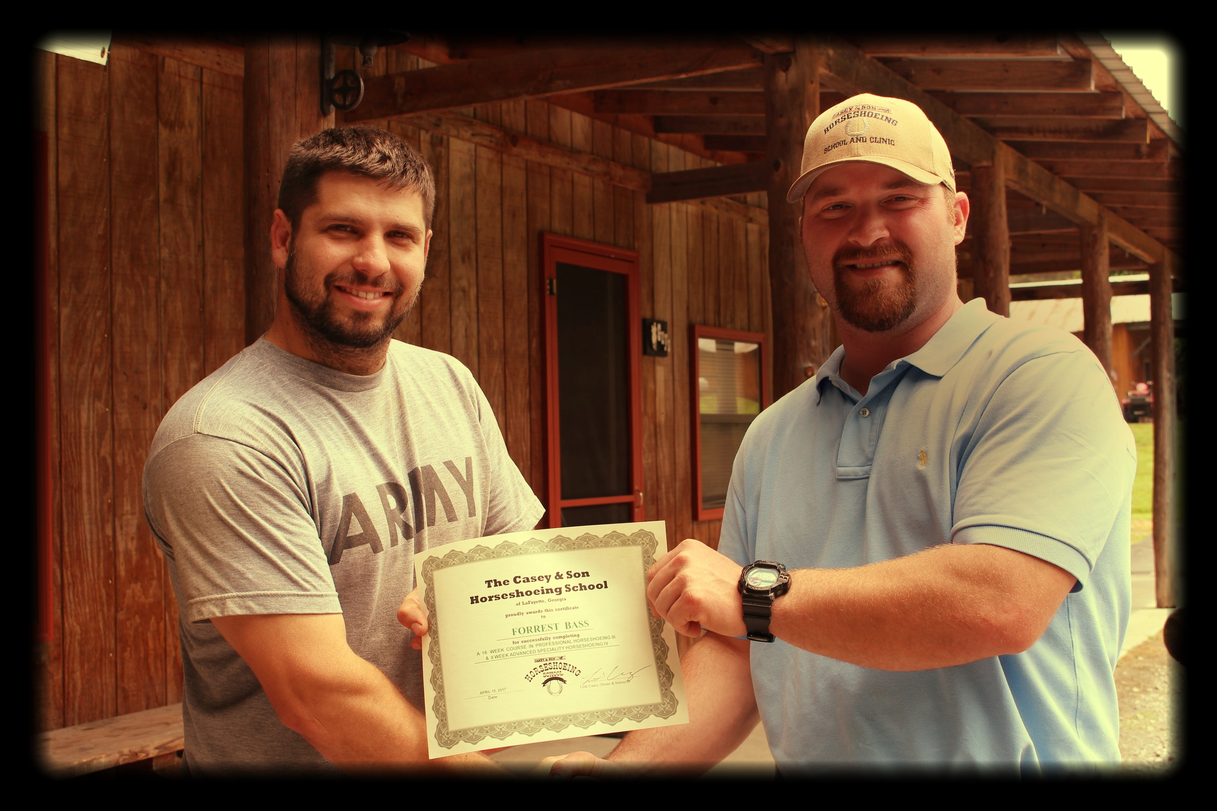 Forrest Bass from South Georgia receiving his 24 week graduation certificate from Casey & Son Horseshoeing School (son) Link Casey, Owner, Master Instructor & Farrier.