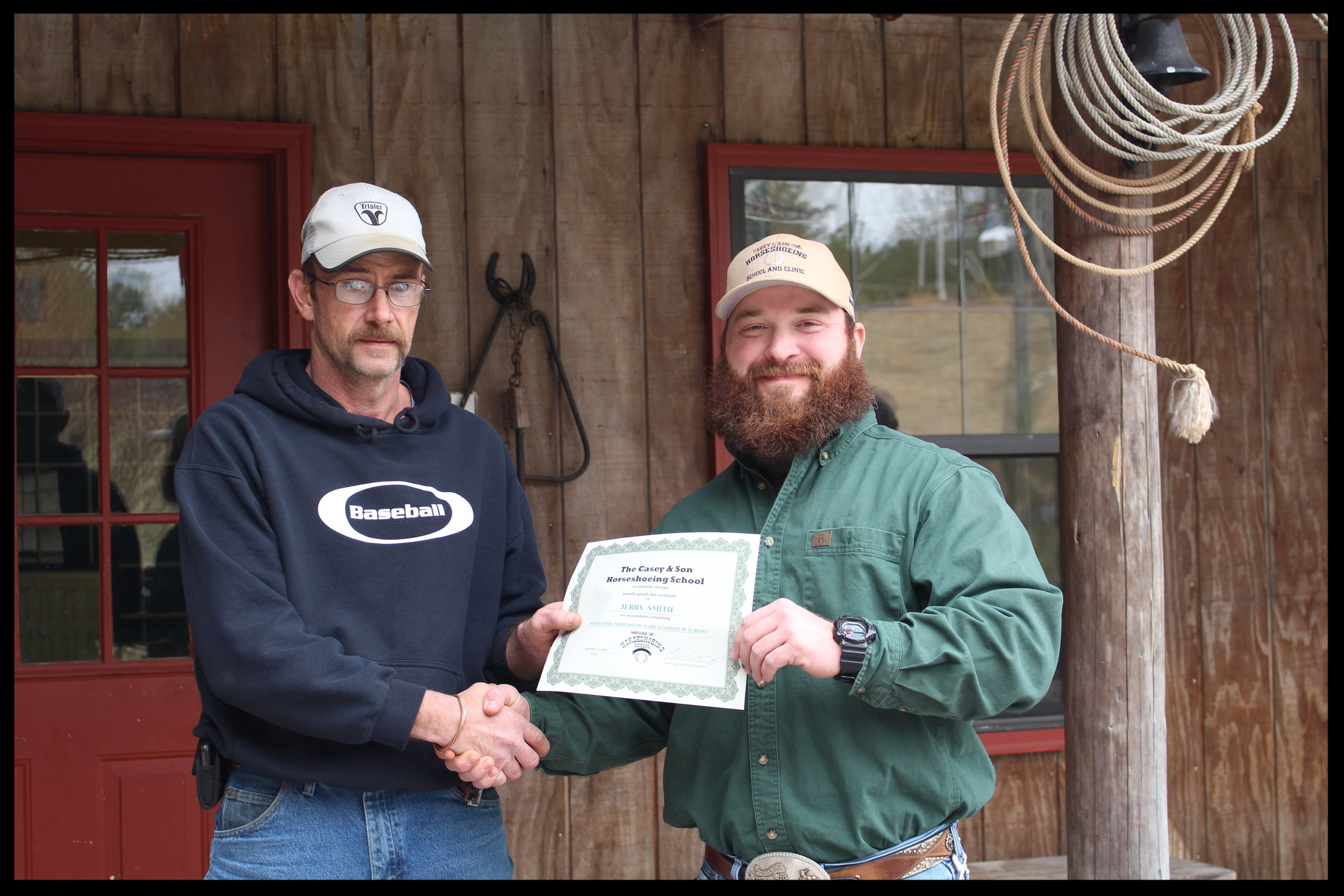 Casey & Son Horseshoeing School farrier graduate Jerry Smith of Tennessee with Link Casey 1.27.2018