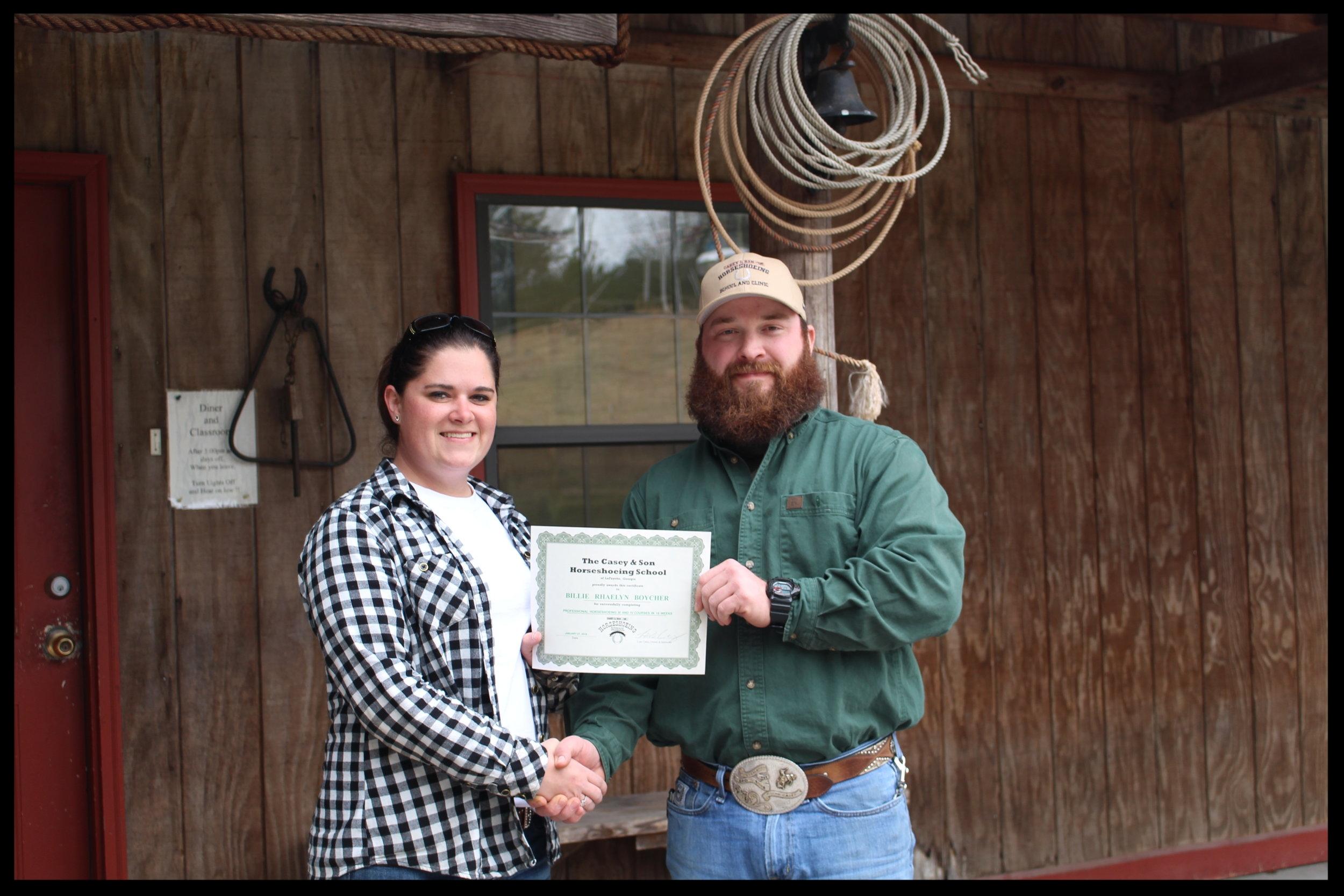 Casey & Son Horseshoeing School graduate farrier Rhaelyn Boycher of Georgia with Link Casey 1.27.2018