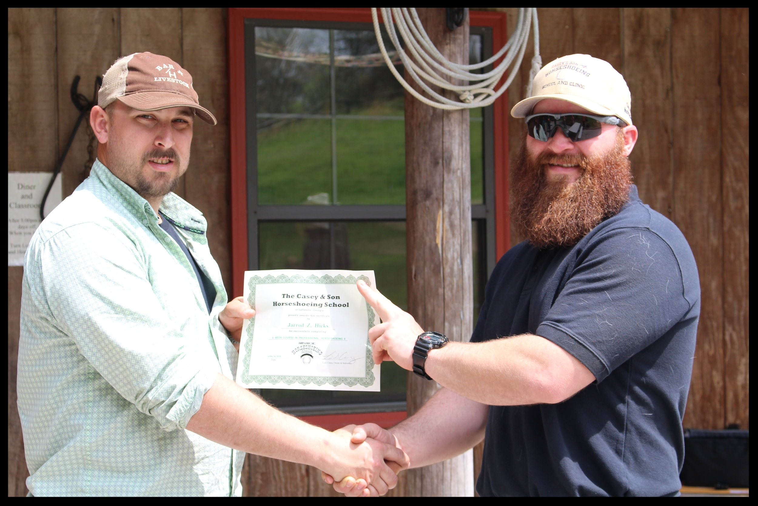 Jarrod Z. Hicks of Virginia, graduate of Casey Horseshoeing School in Georgia  with Link Casey. 4.14.2018.JPG
