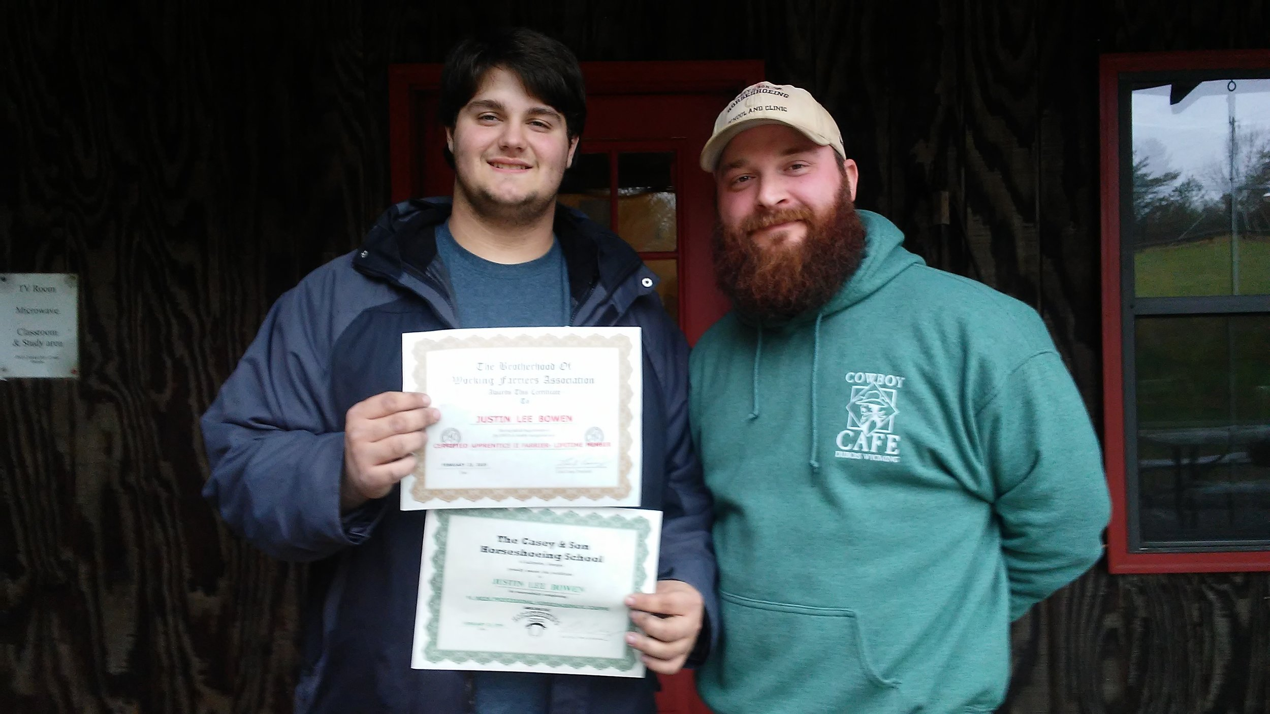 Justin Lee Bowen of Chatsworth, GA Completed his 18 week Farrier Course recieved his BWFA Certification 2.23.2019 here with Link Casey. His Uncle is Jarvis Bowen, BWFA Master Farrier & Tester..jpg