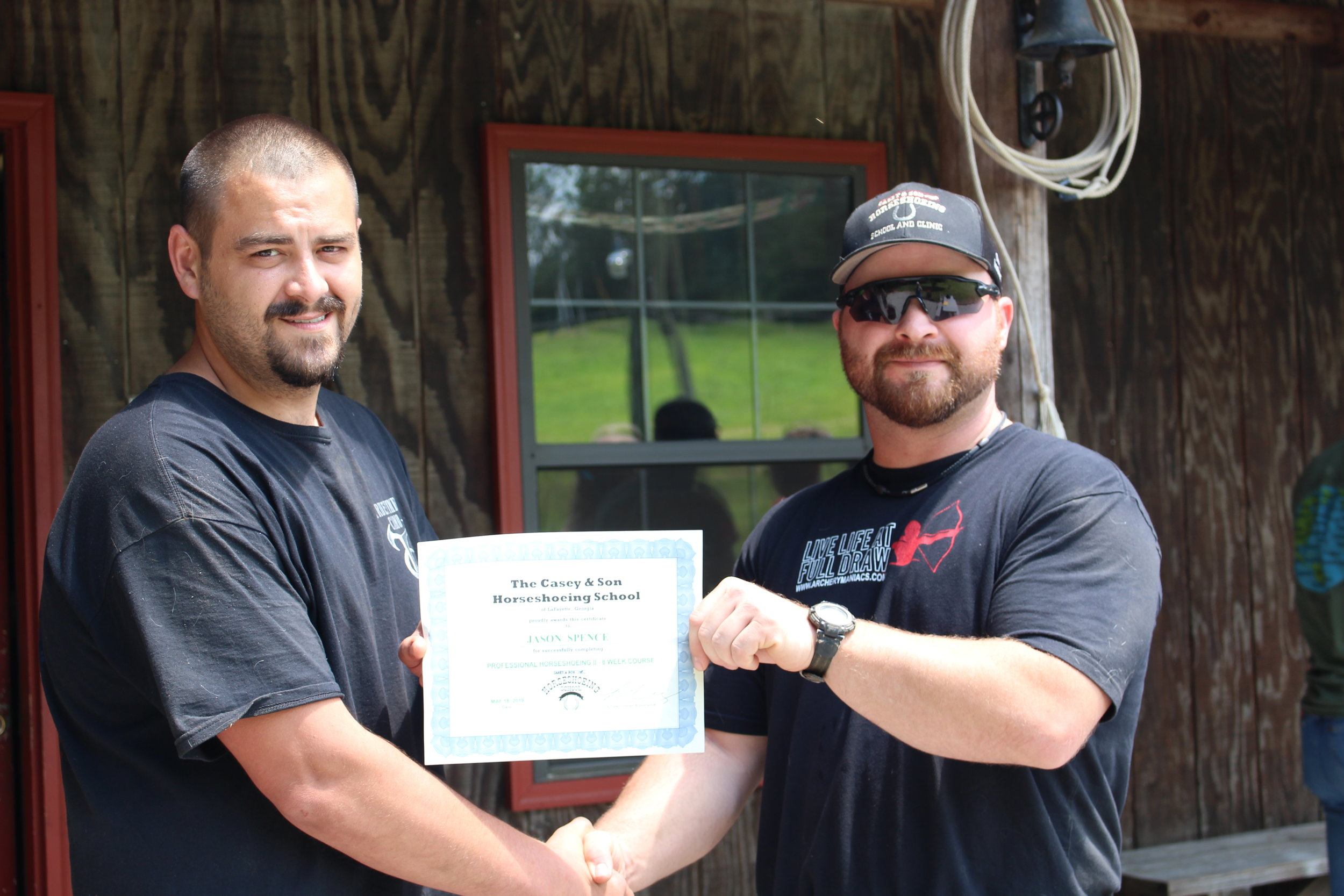 Jason Spence of Beckley WV, Graduate Farrier of Casey Horseshoeing School with link Casey, Owner, Instructor. Congratulations to a real hard worker changing careers from coal mining to Independent self employment and certified Farrier!