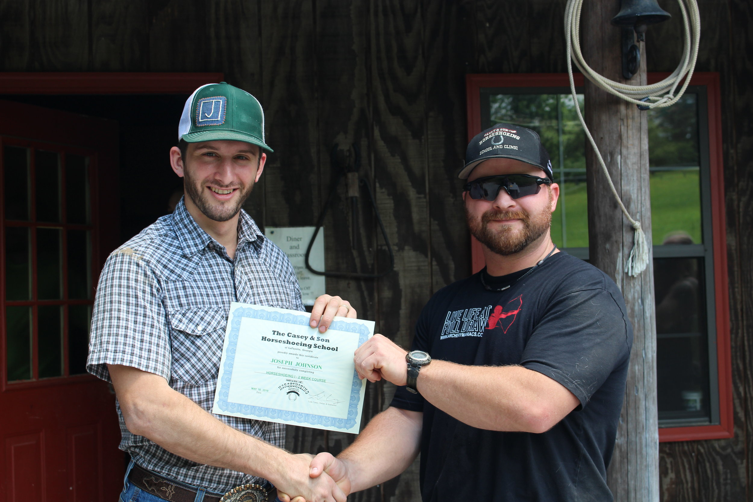Joseph Johnson, LA, Firefighter completed a short Horse Owner Course in order to shoe his own. At Casey & Son Horseshoeing School, pictured here with Link Casey, Owner and Instructor .