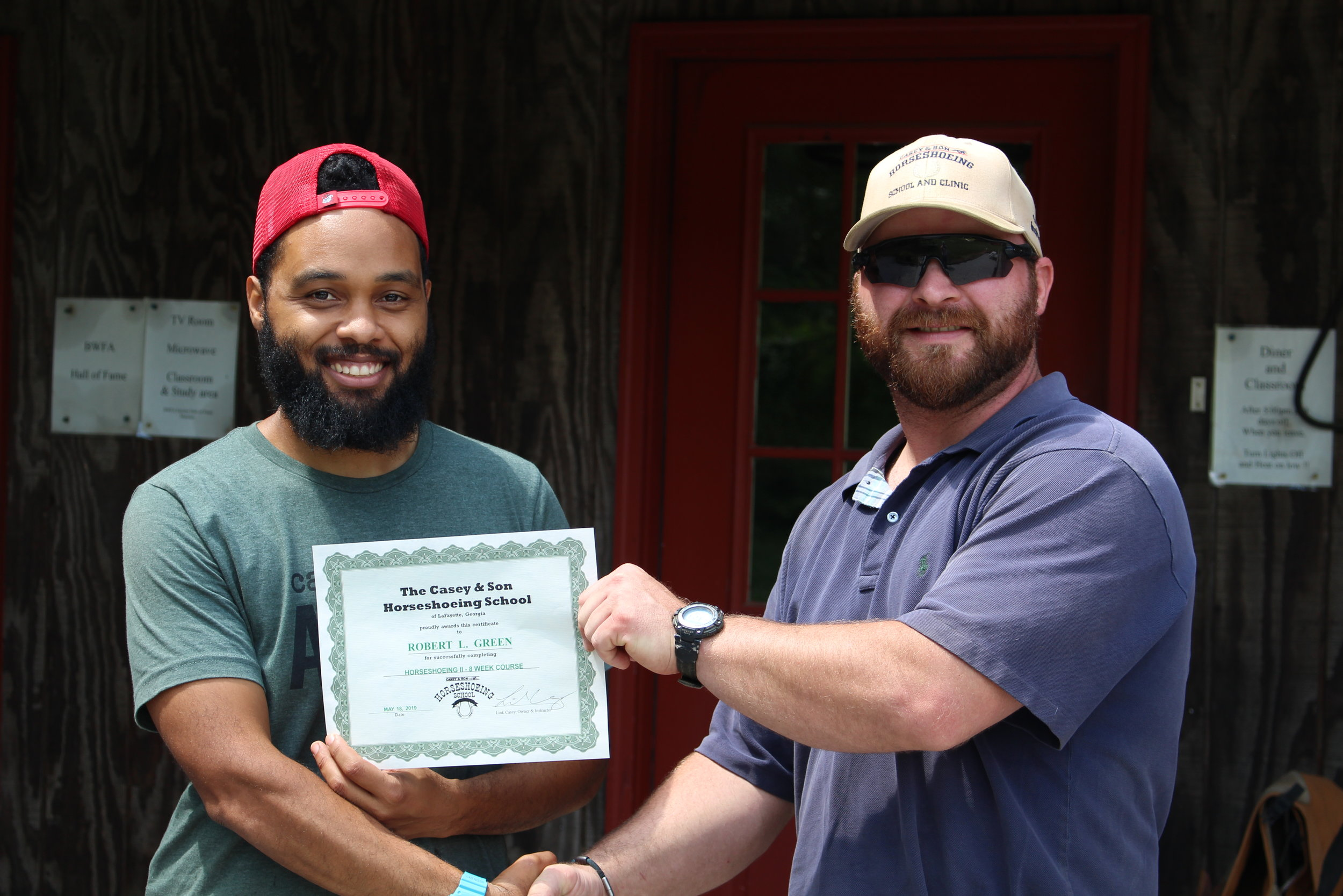 Robert L. Green Casey & Son Horseshoeing Graduate and Veteran of Florida with owner and Instructor, Link Casey. 5.28.2019