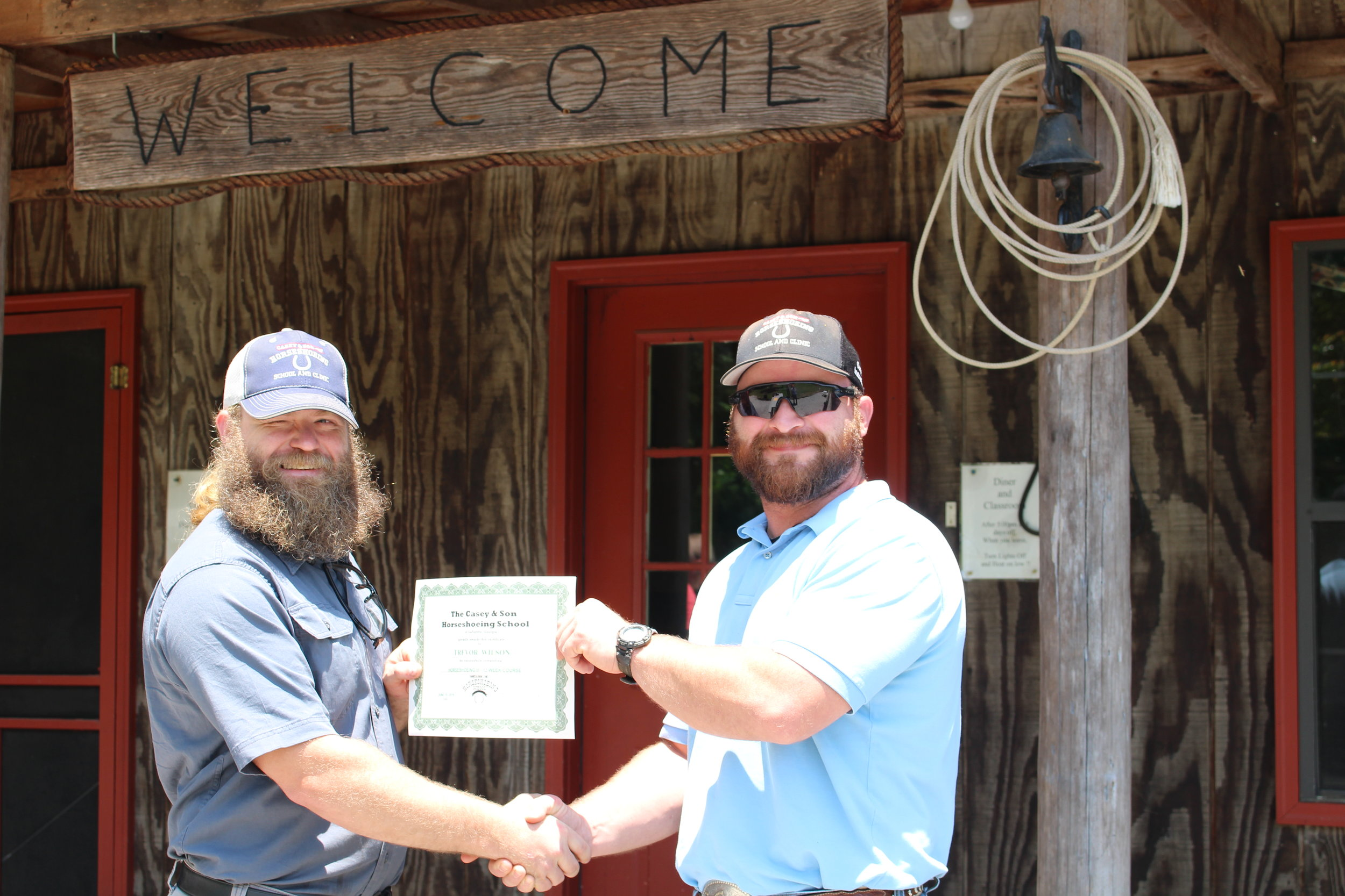 Trevor Wilson, Marietta, Georgia graduates from 16 week Professional Farrier Course at Casey Horseshoeing School in Georgia. With Link Casey, (r) Owner, Instructor, Master Farrier 6.15.19
