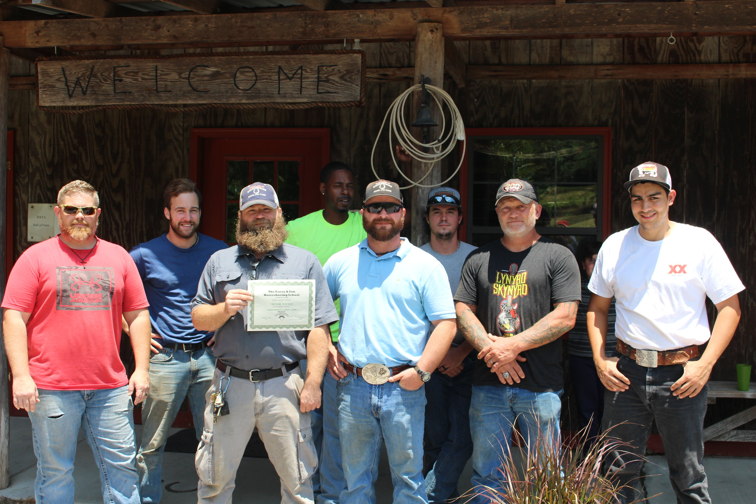 Trevor Wilson, Marietta, Georgia graduates from Casey Horseshoeing School in Georgia from 16 week Professional Farrier Course. Here with fellow students. 6.15.19