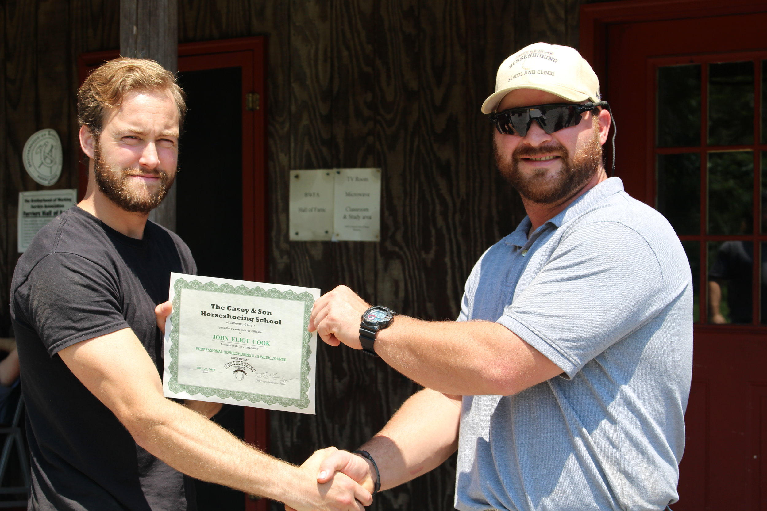 The Cook Brothers Farrier Service of Michigan- John Cook with Link Casey (r) Owner & Head Instructor of Casey Horseshoeing School. Ryan is now a Casey Horseshoeing School Graduate, EFT & BWFA Certified