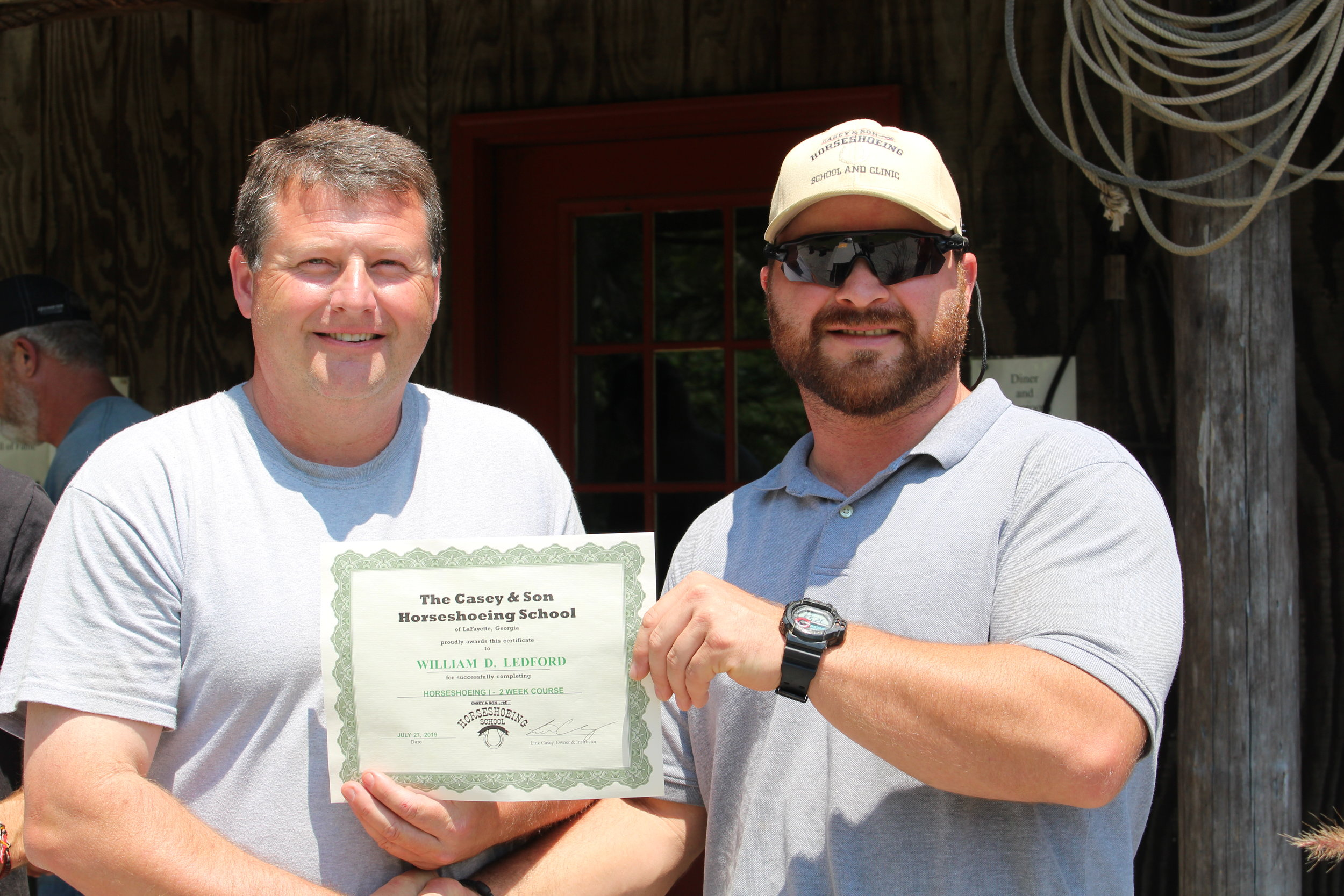 Certificate of completion for HCI here with Link Casey (r) Instructor & Owner of Casey & Son Horseshoeing School.
