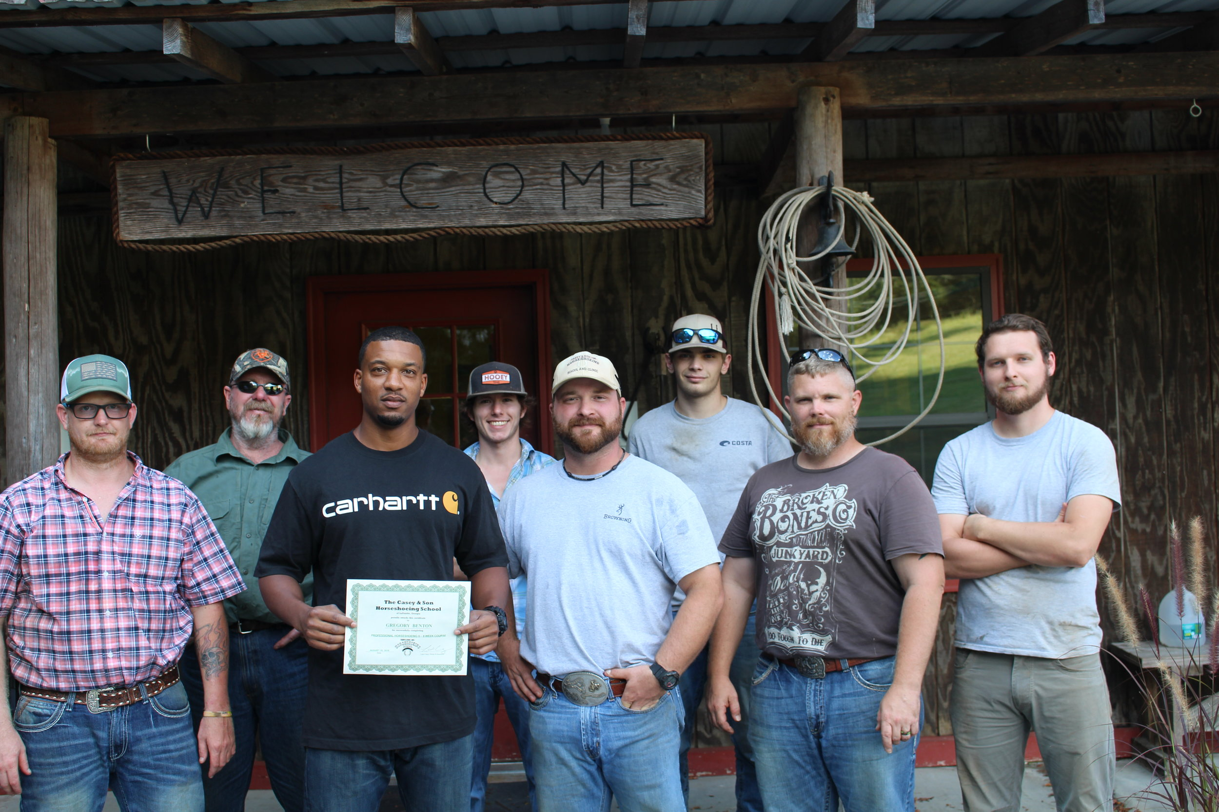 Gregory Benton, MS, Veteran with Owner & Instructor Link Casey and students.