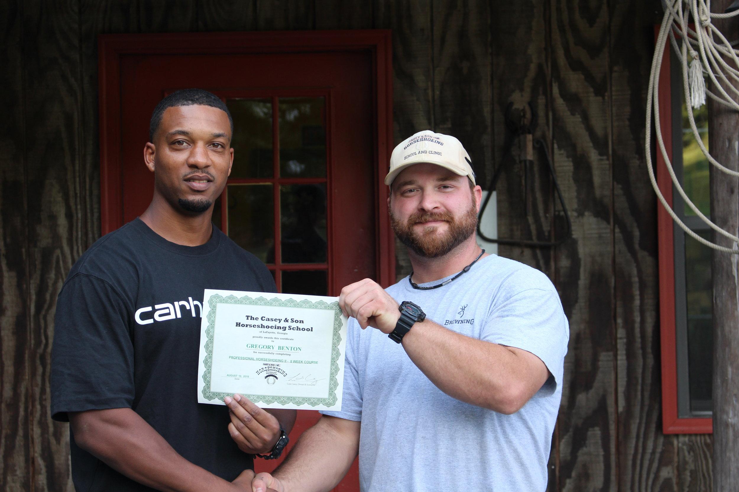 Gregory Benton, MS, Veteran with Owner & Instructor Link Casey.