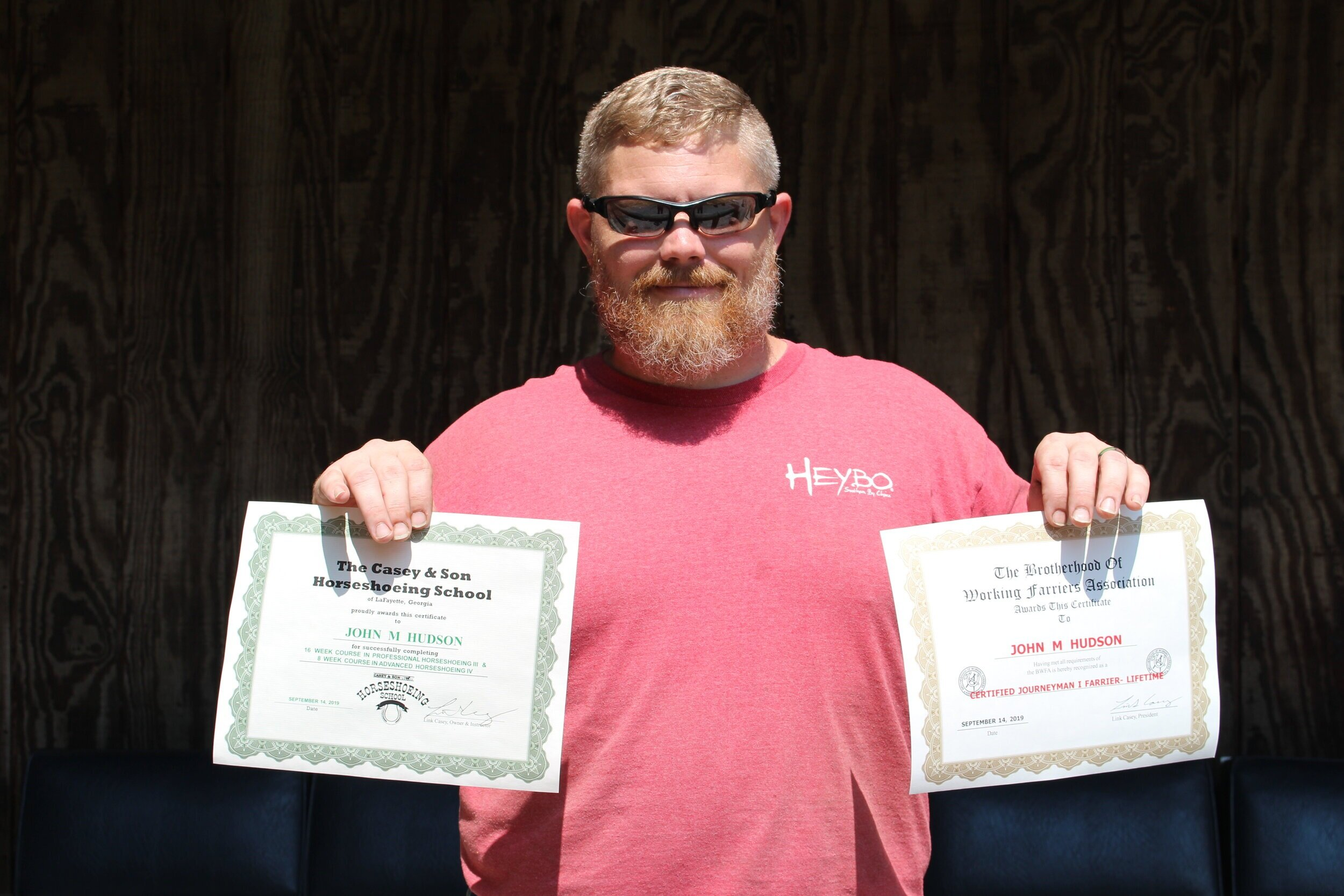 John with his Horseshoeing IV Certification and BWFA Journeyman I Certification.