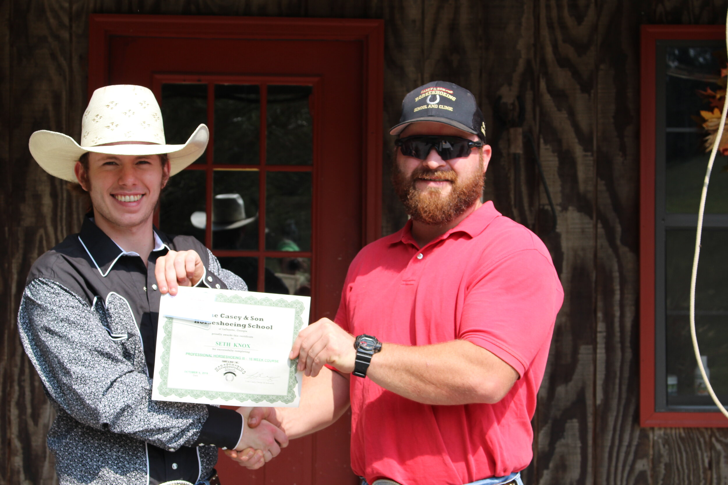 Seth Knox of TN Farrier Graduate of Professional Horseshoeing II at Casey & Son Horseshoeing School in Georgia here with Link Casey, Owner, Instructor