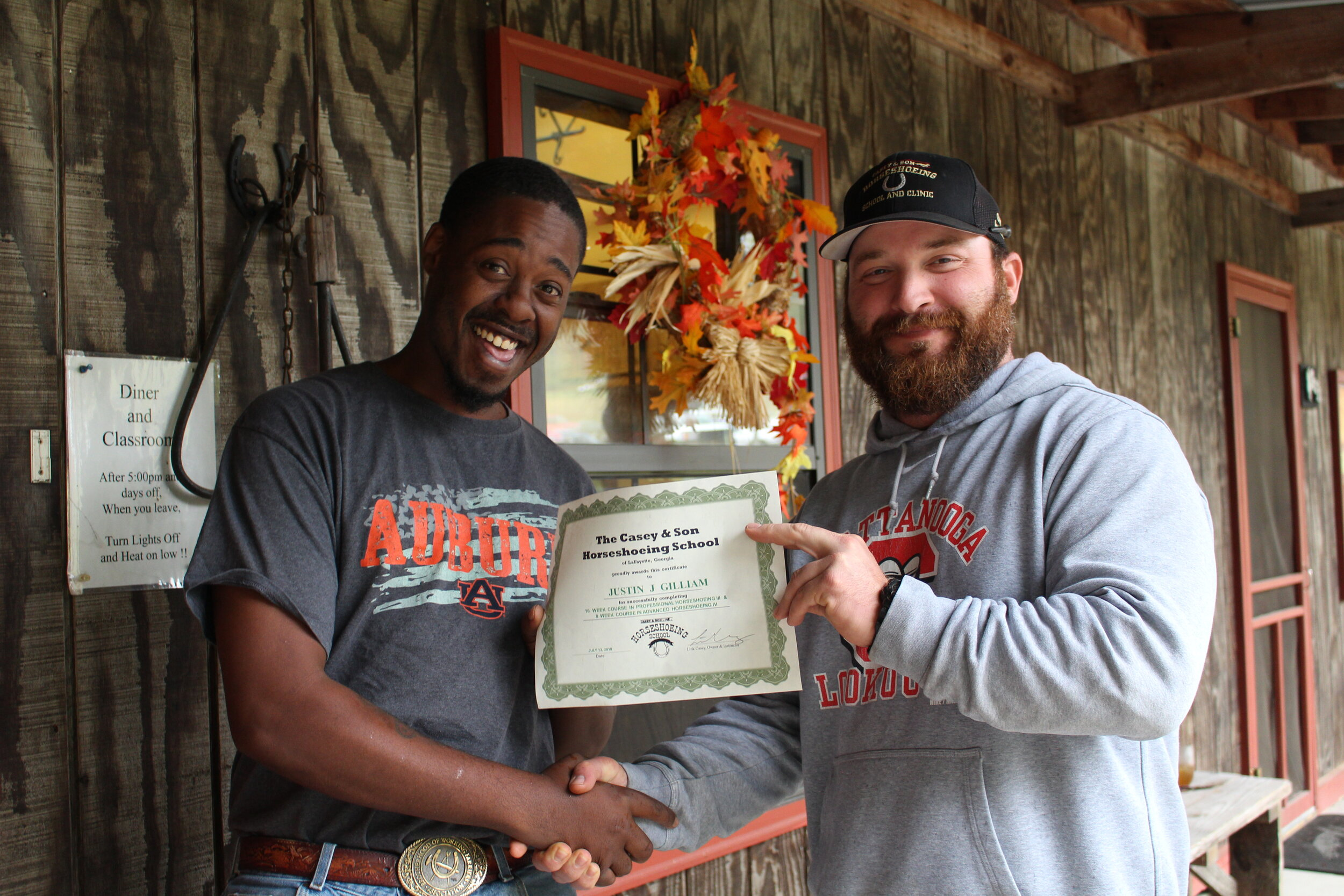 Justin Gilliam pictured here with BWFA President and Owner-/Instructor of Casey & Son Horseshoeing School, Link Casey.