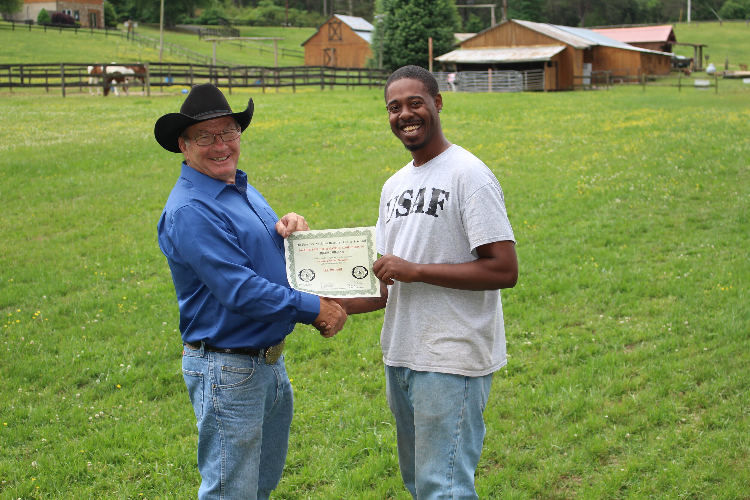 Justin Gilliam pictured here with Equine Flexion Therapy Instructor, Dan Marcum of Texas.