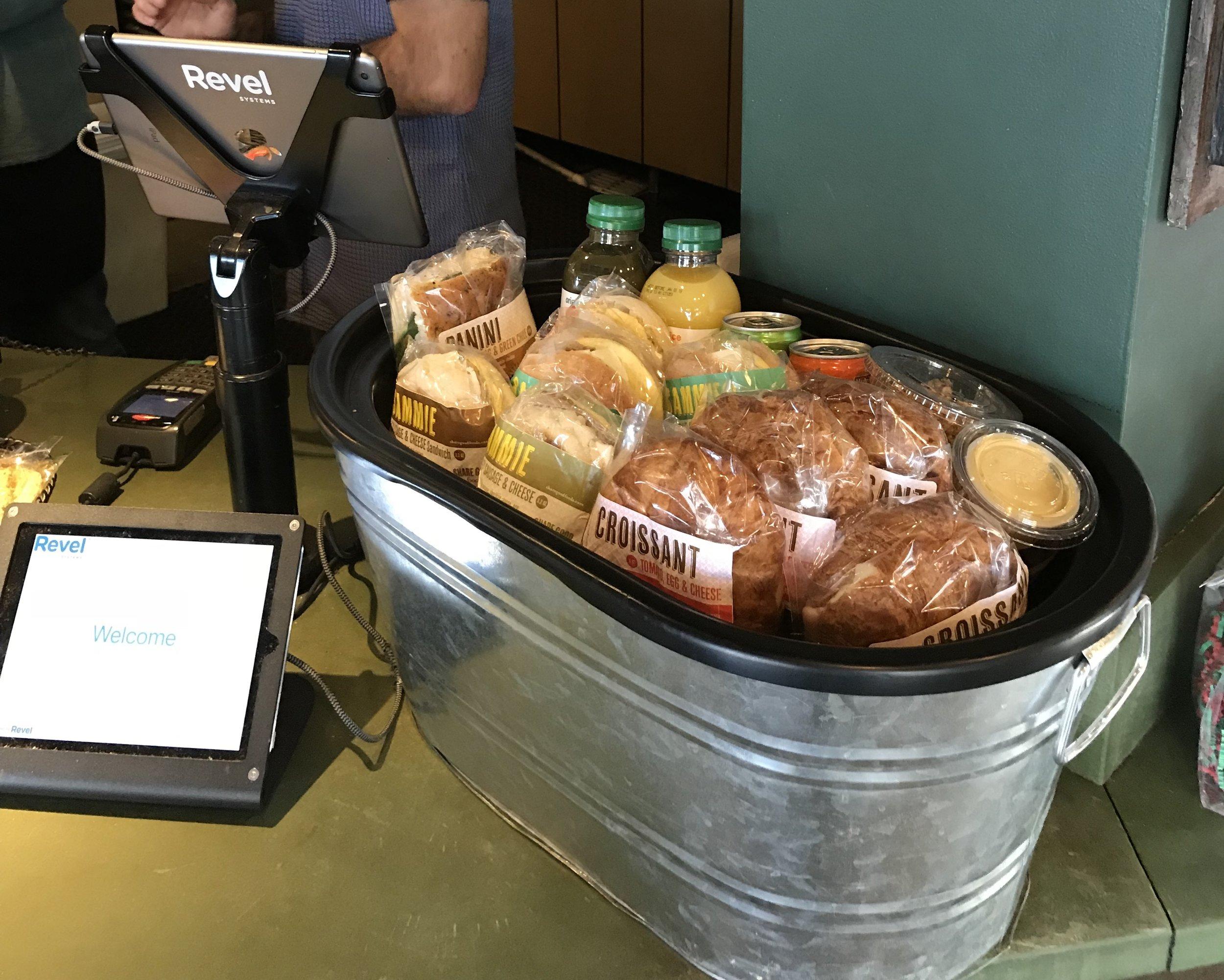 Breakfast staged ice bucket
